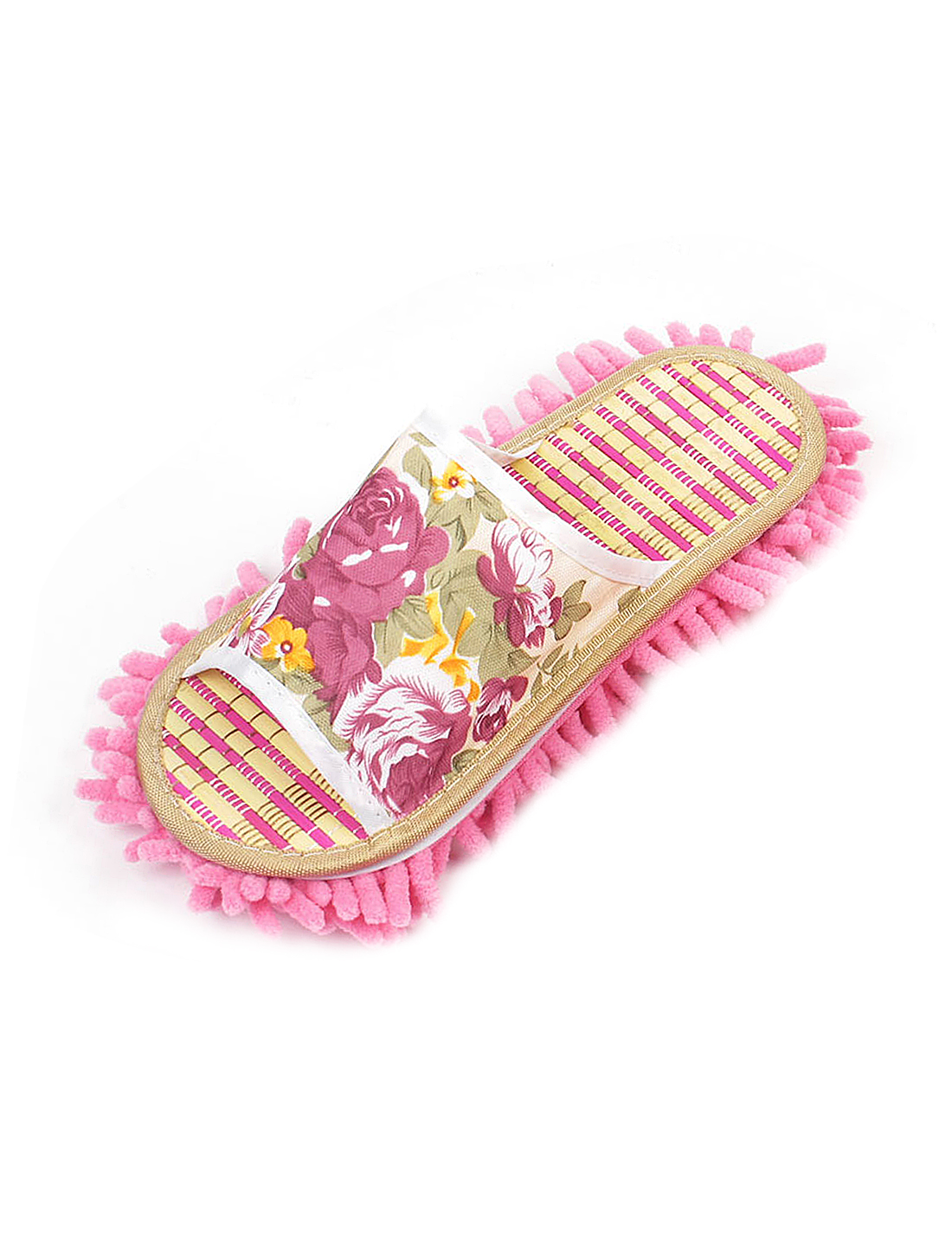 Ladies Floral Leaves Pattern Open Toe Type Wipe Floor Mop Slippers US 7