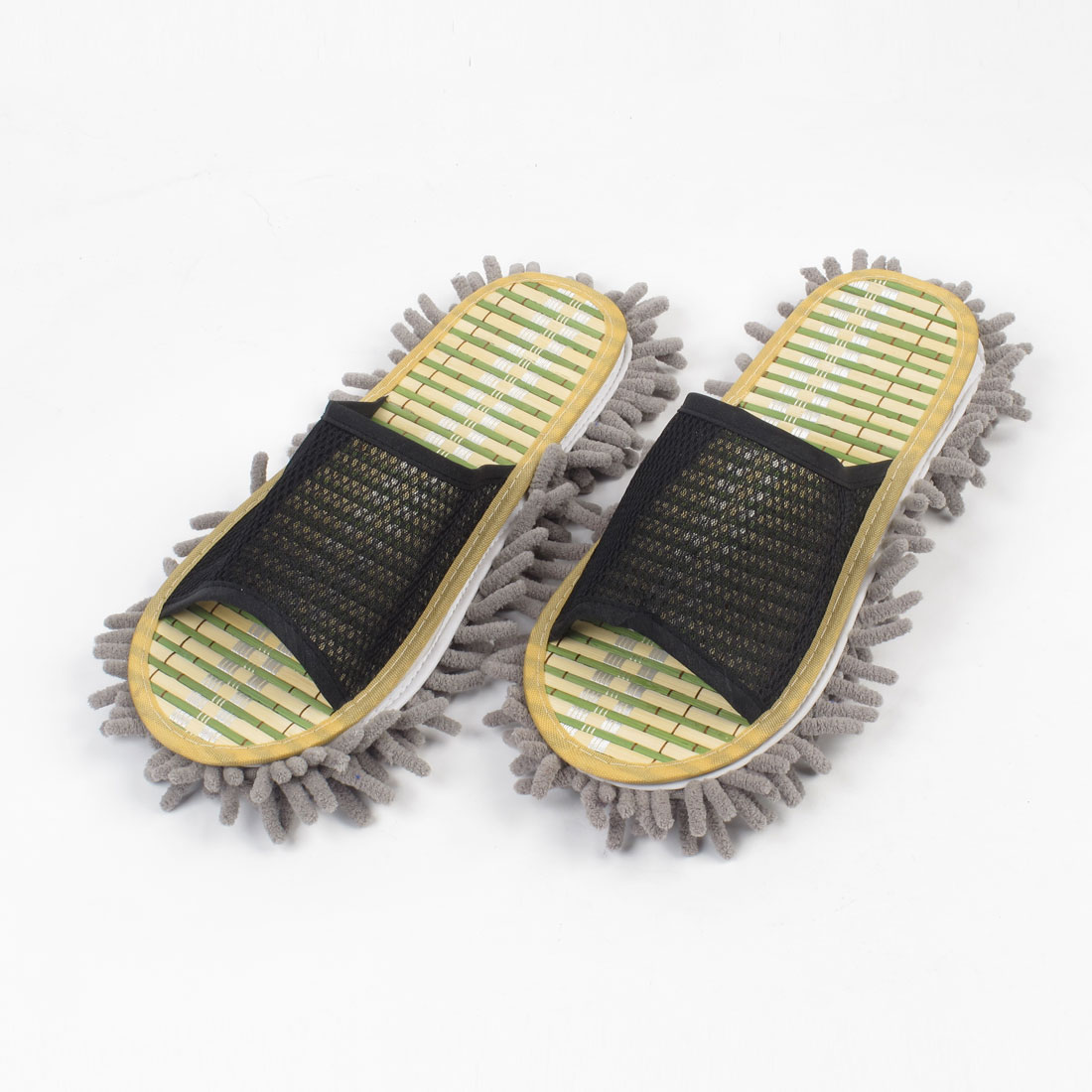 Home Dust Floor Bamboo Insole Cleaning Mop Slippers Shoes US 8.5 for Man
