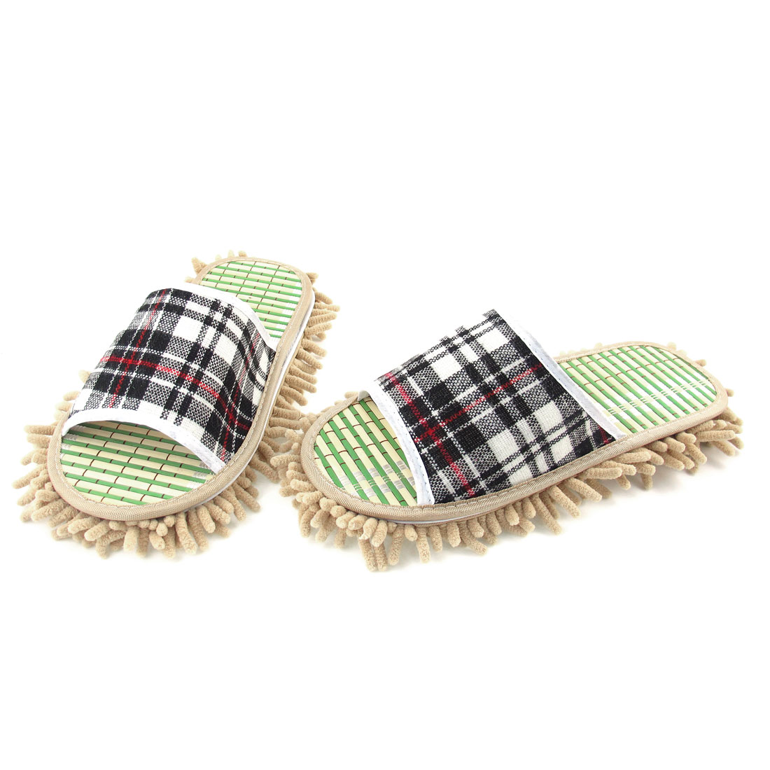 Plaid Decor Khaki Outsole Open Toe Style Mop Slippers Shoes EU 43 for Man