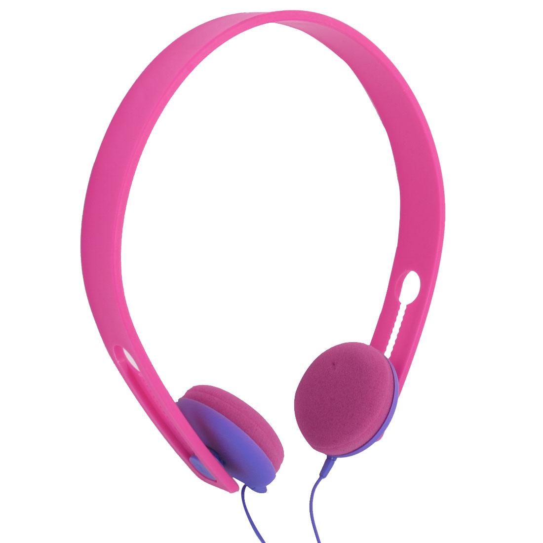 Fuchsia Purple 3.5mm Plug Bass Headset Headphone for Laptop Desktop Tablet
