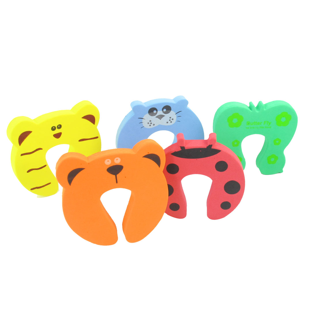 5 Pcs Cartoon Tiger Cat Ladybug Design Baby Safety Foam Door Cushion Stopper