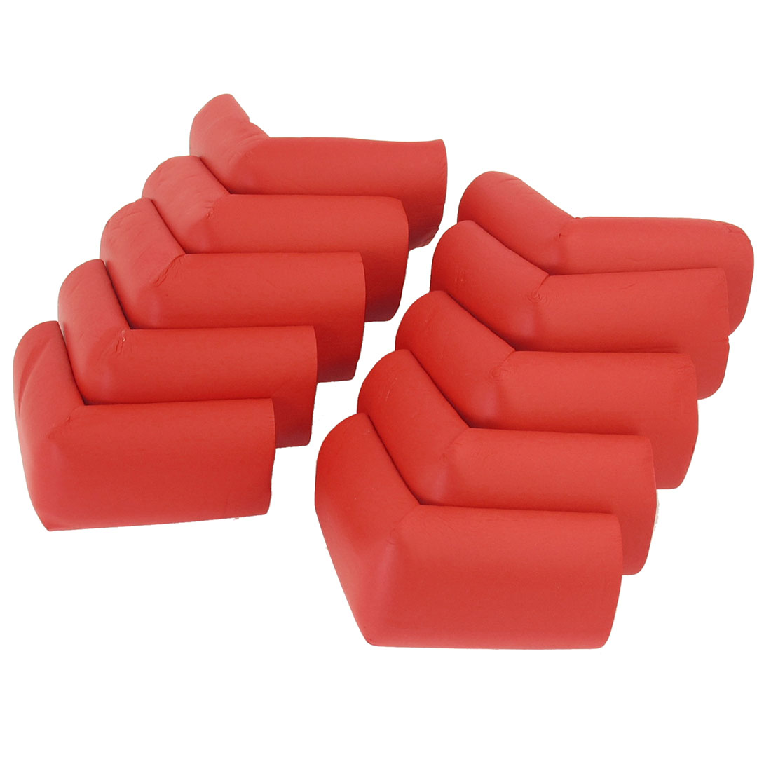 5 Pair Red Foam Mat Cupboard Desk Table Corner Cushion + Double-Sided Stickers