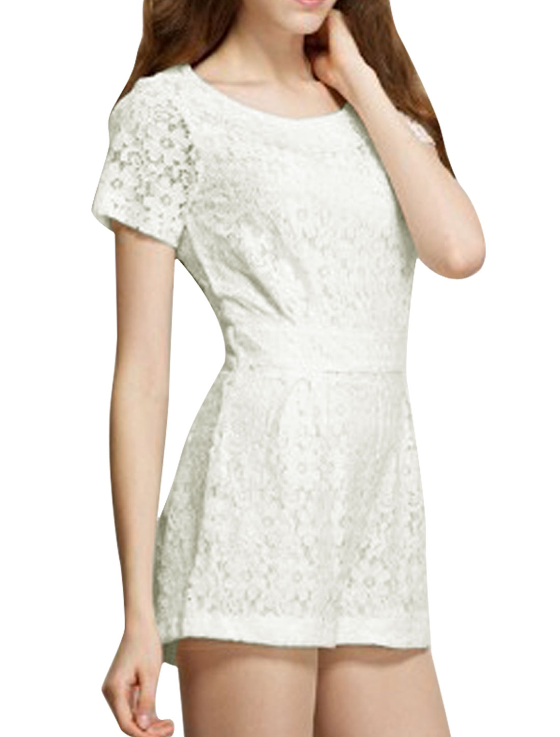 Women Round Neck Zip Up Back Short Sleeve Lace Romper White XS