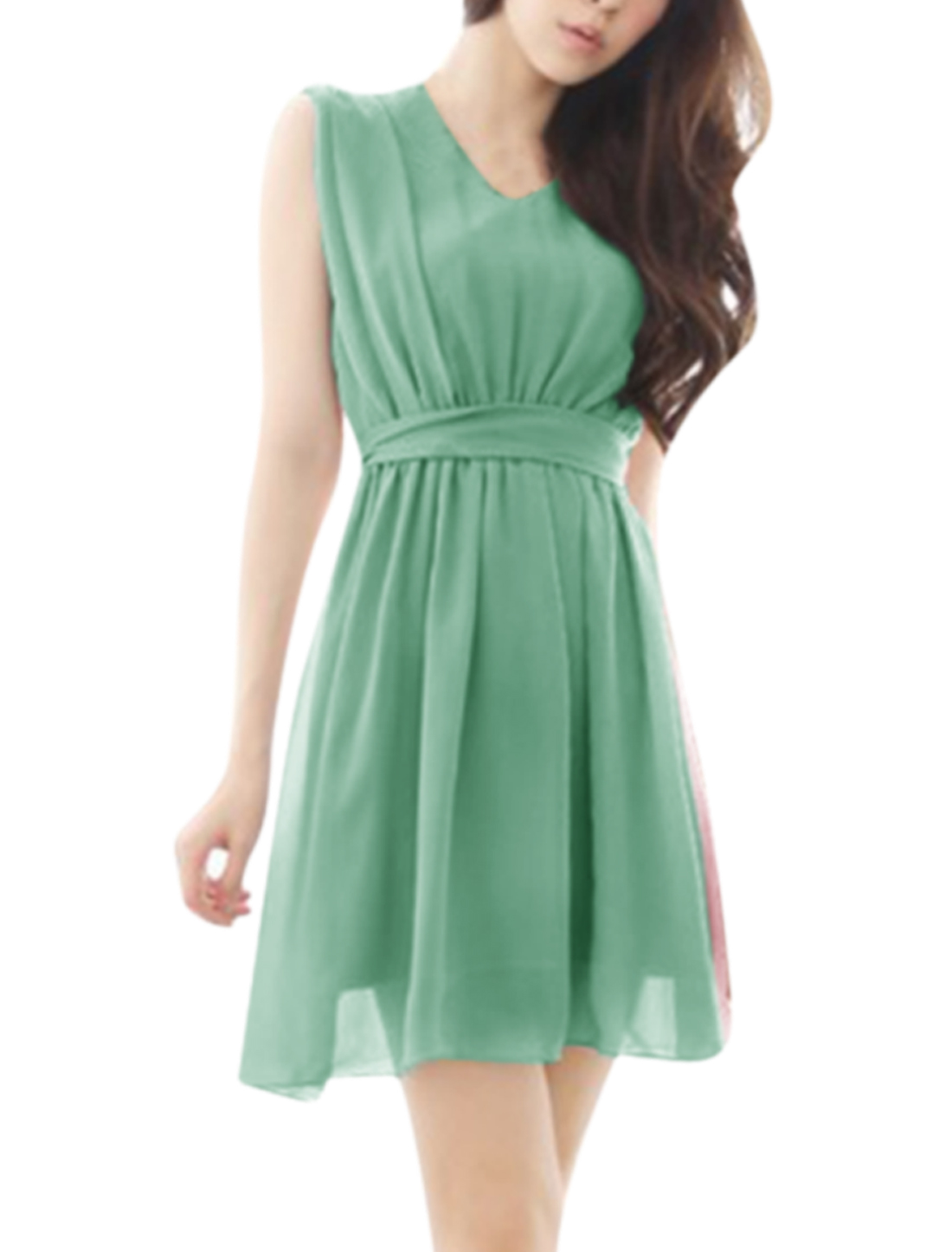 Women V Neck Sleeveless Elastic Waist Design Chiffon Dress Beige Mint S