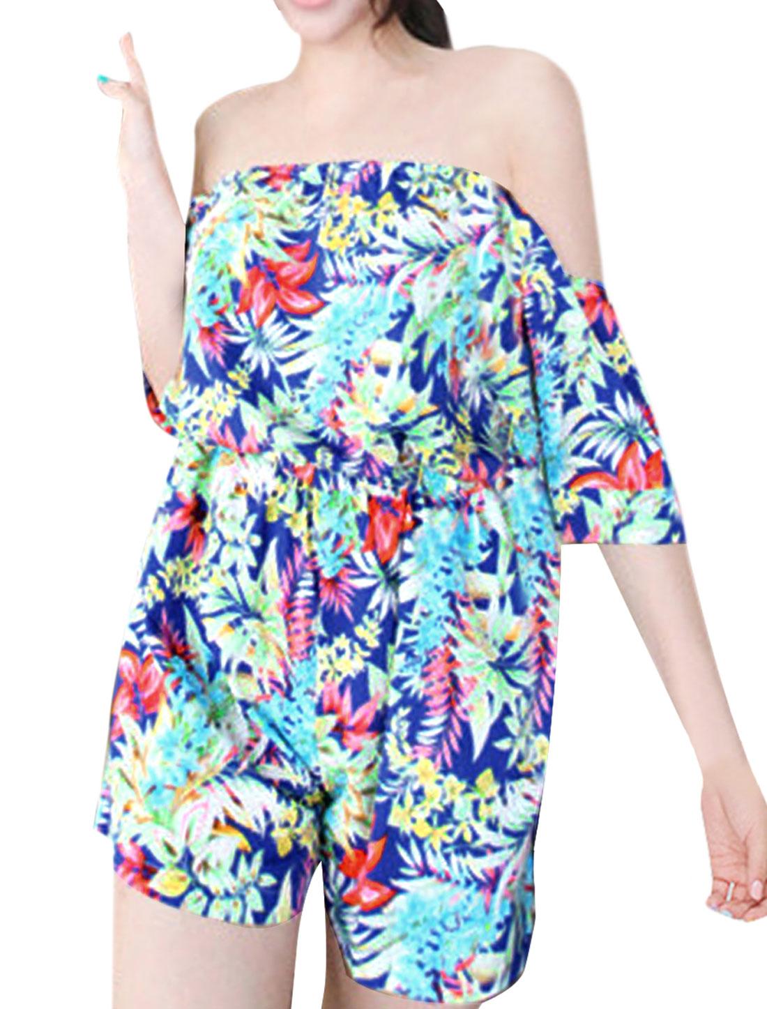 Lady Blue Floral Prints Stretchy Waist Strapless Short Jumpsuit S