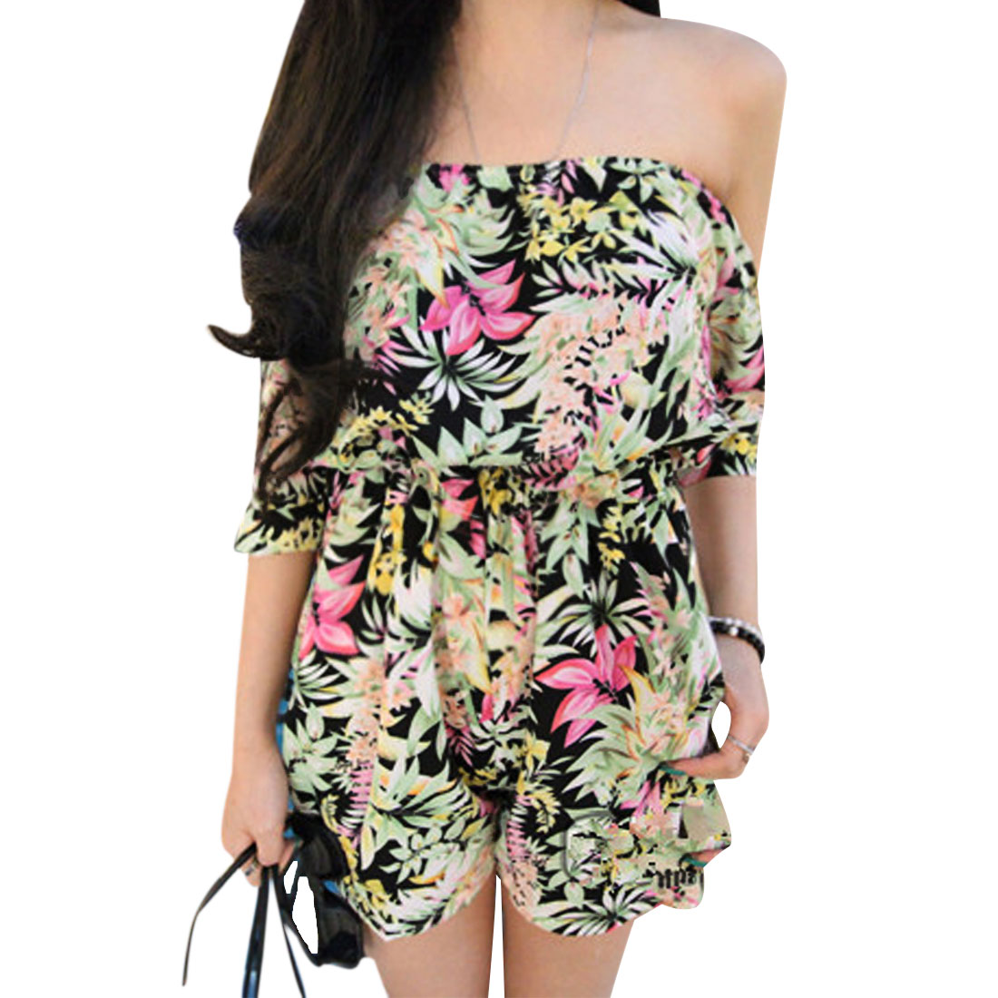 Lady Black Off-Shoulder Short Sleeve Elastic Waist New Style Romper S