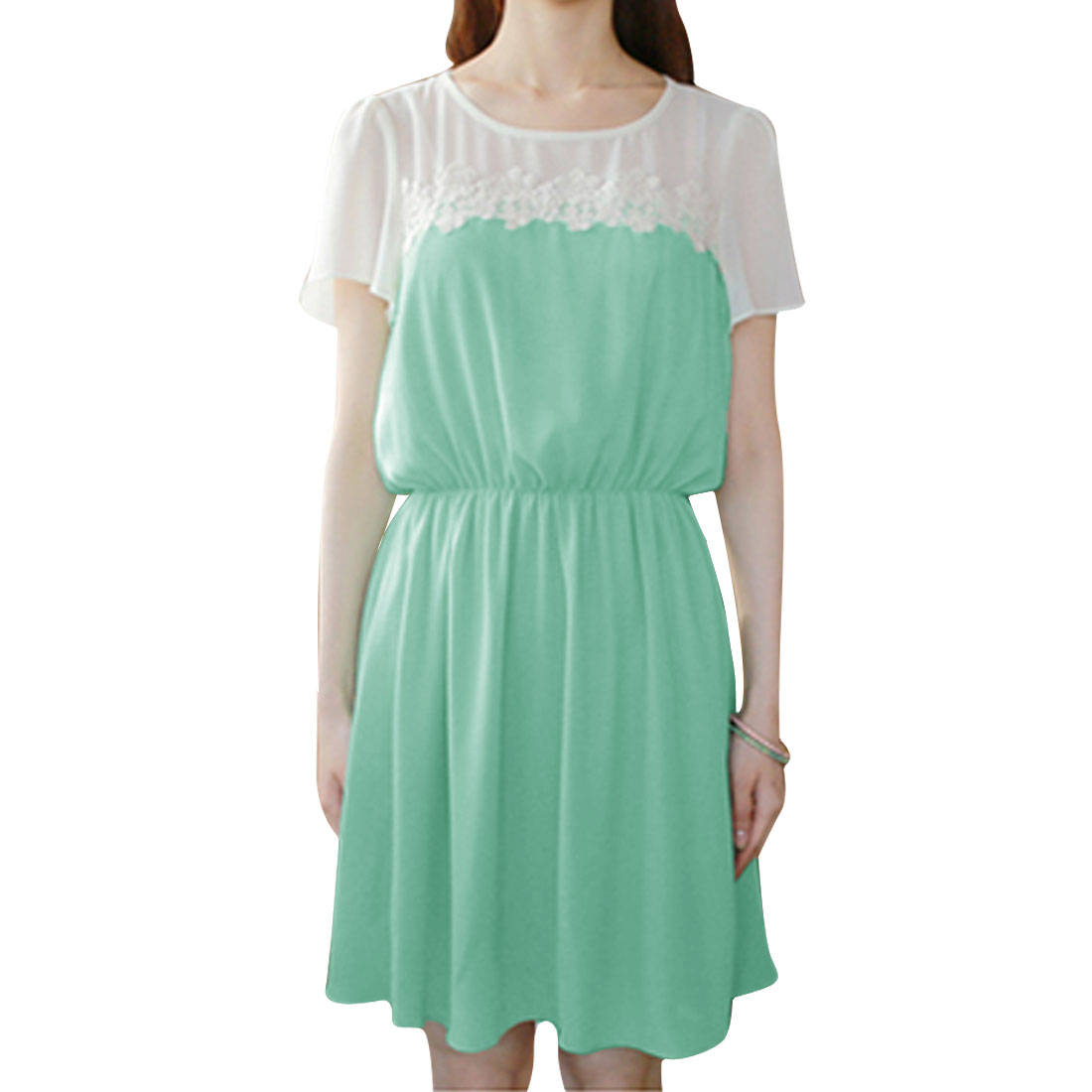 Women Short Sleeve Round Neck Elastic Waist Chiffon Casual Dress Mint XS