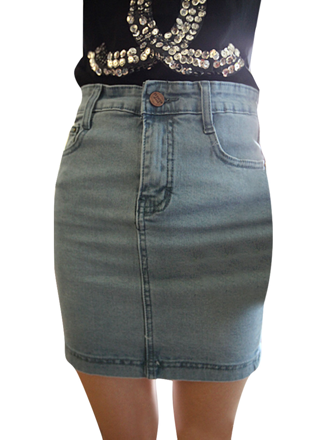 Women Waistband Loop Zip Closure Split Denim Skirt Pale Blue XS