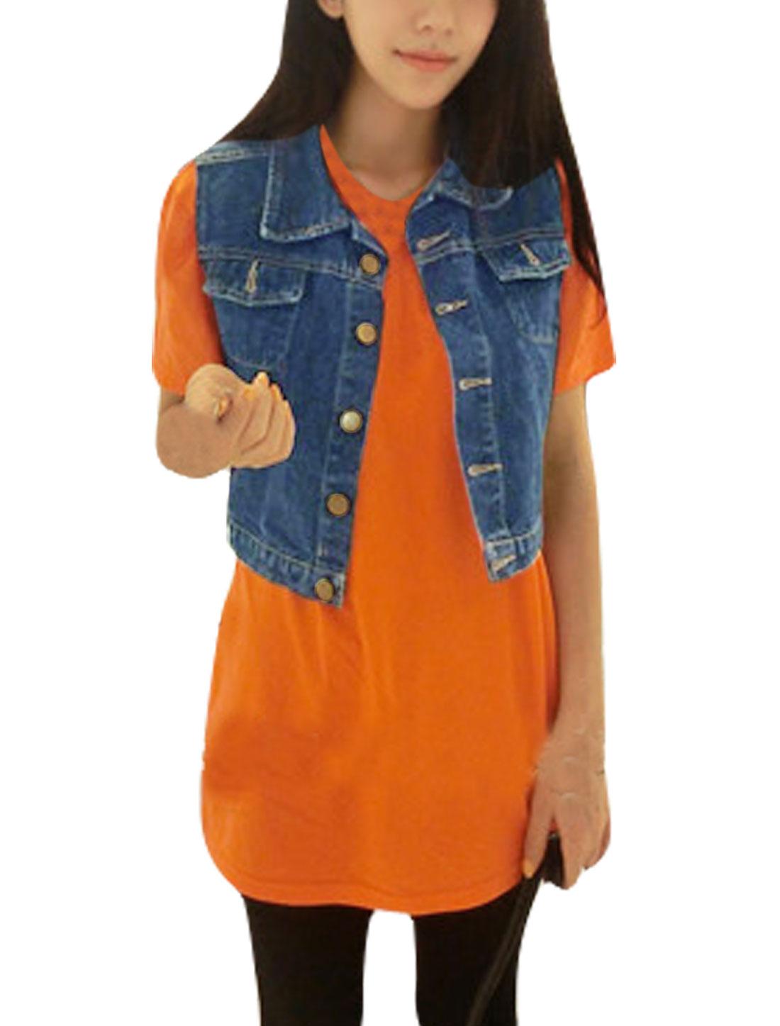 Women Point Collar Button Up Sleeveless Denim Vest Dark Blue XS