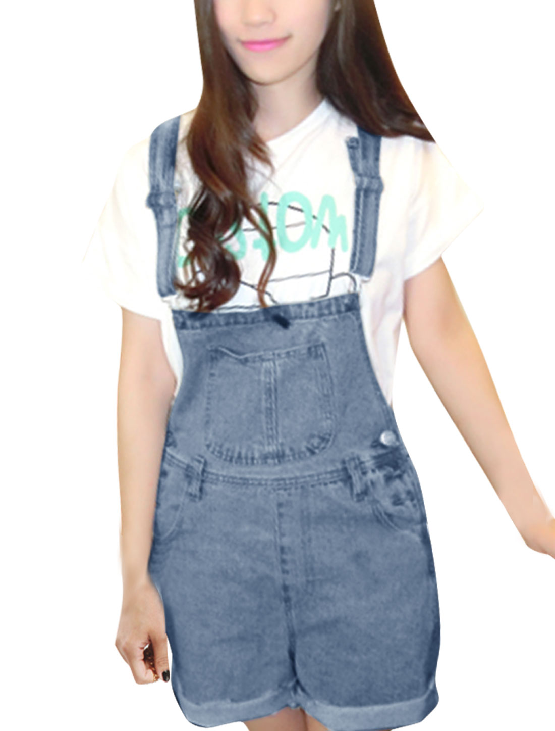 Women Adjustable Straps Waistband Loop Denim Overalls Pale Blue M