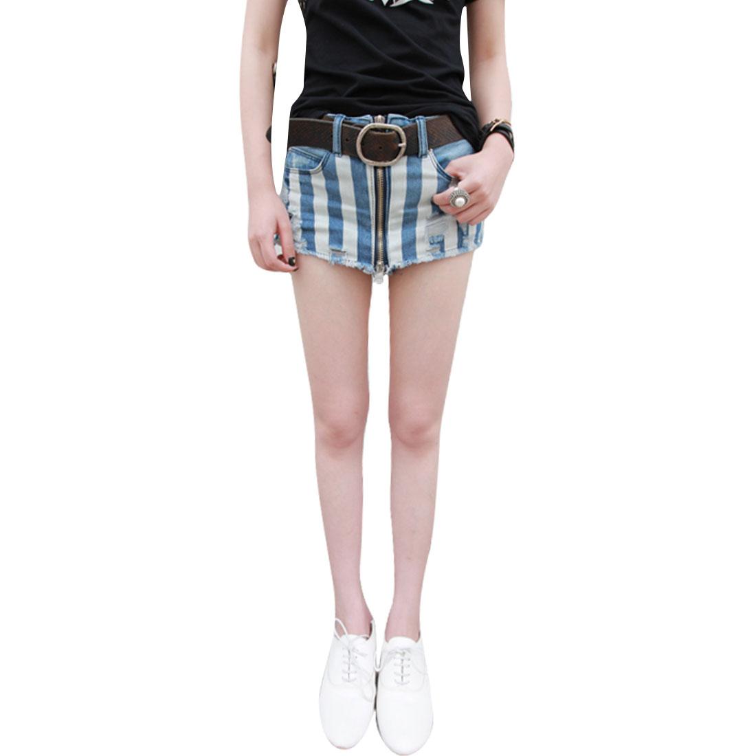 Women Belt Loops Five Pockets Stripes Pattern Skorts Shorts Light Blue S