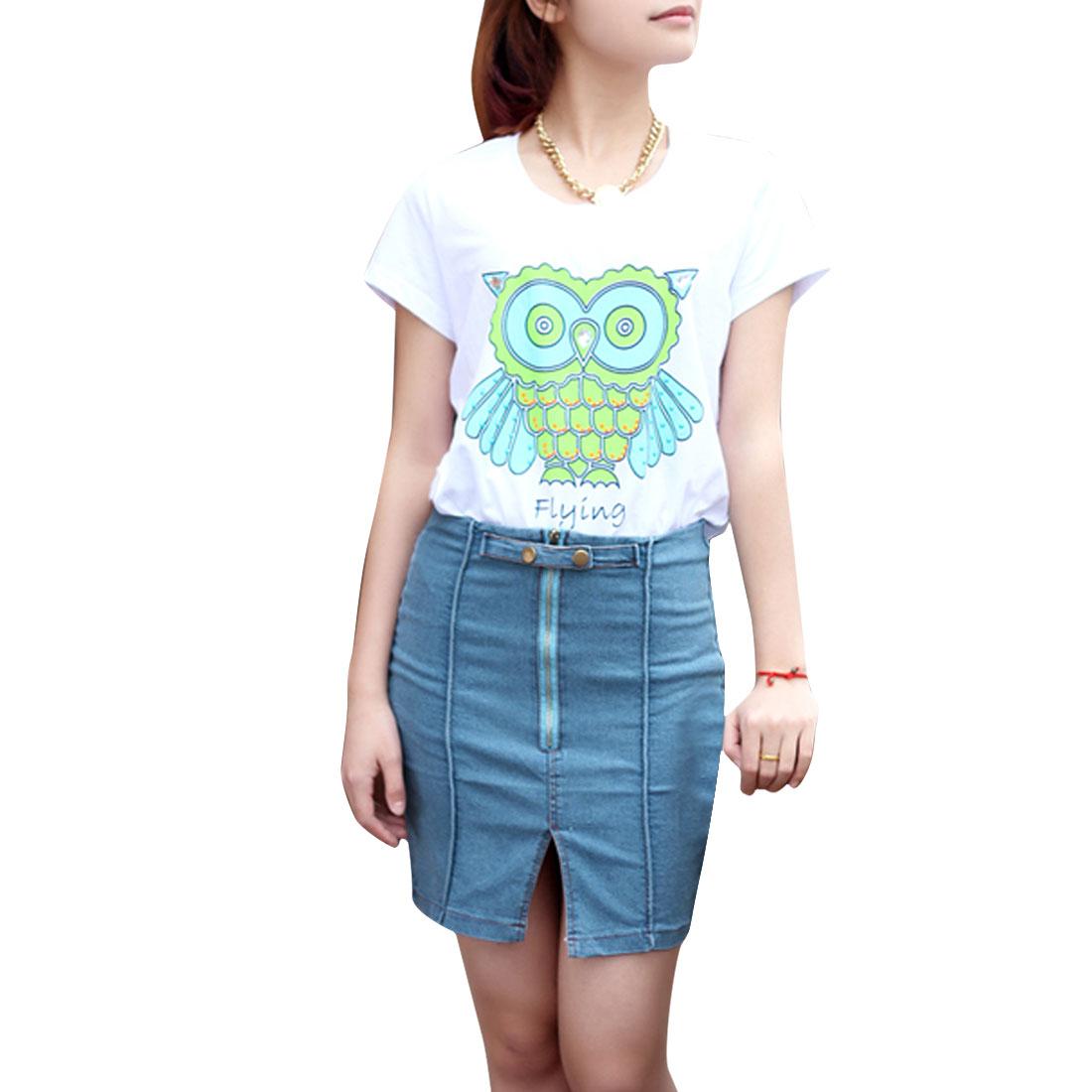 Women Zipper Closure Slim Fit Style Button Front Casual Skirt Light Blue XS