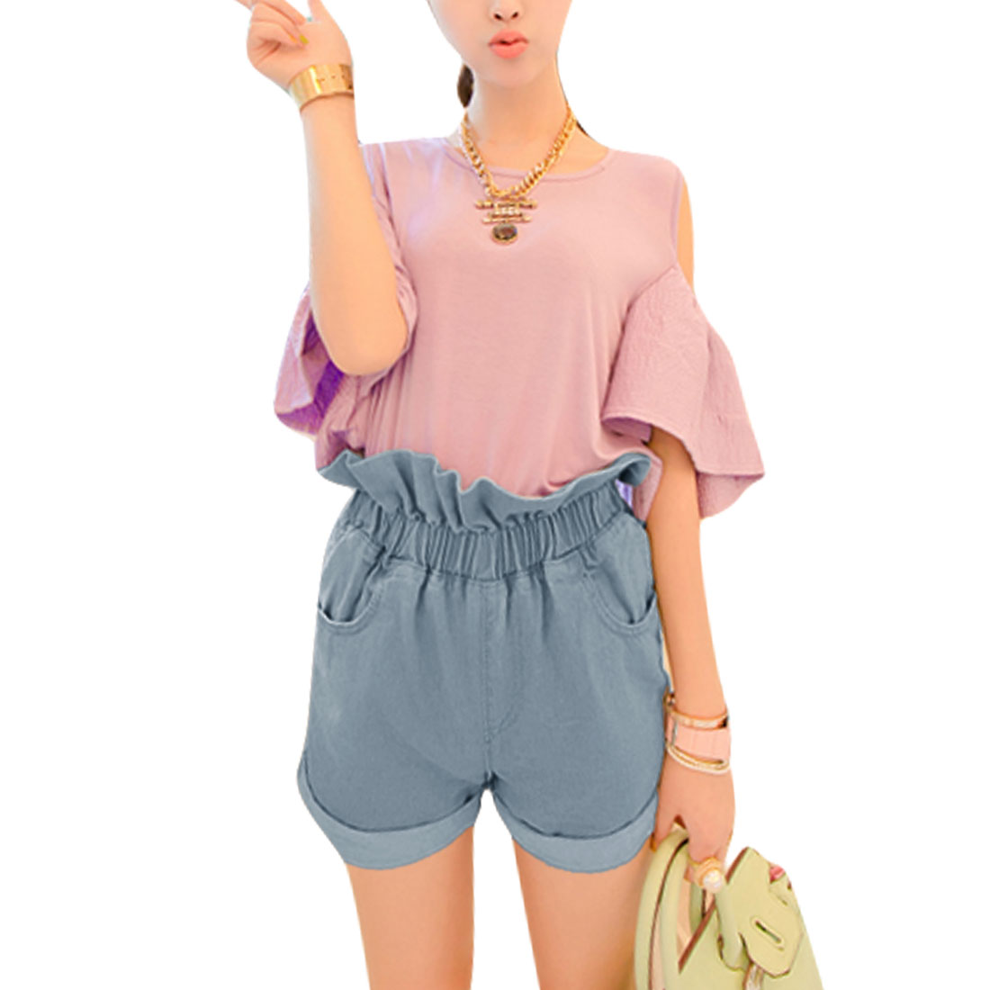 Women Elastic Waist Design Roll Up Hem Back Pocket Mini Shorts Light Blue S