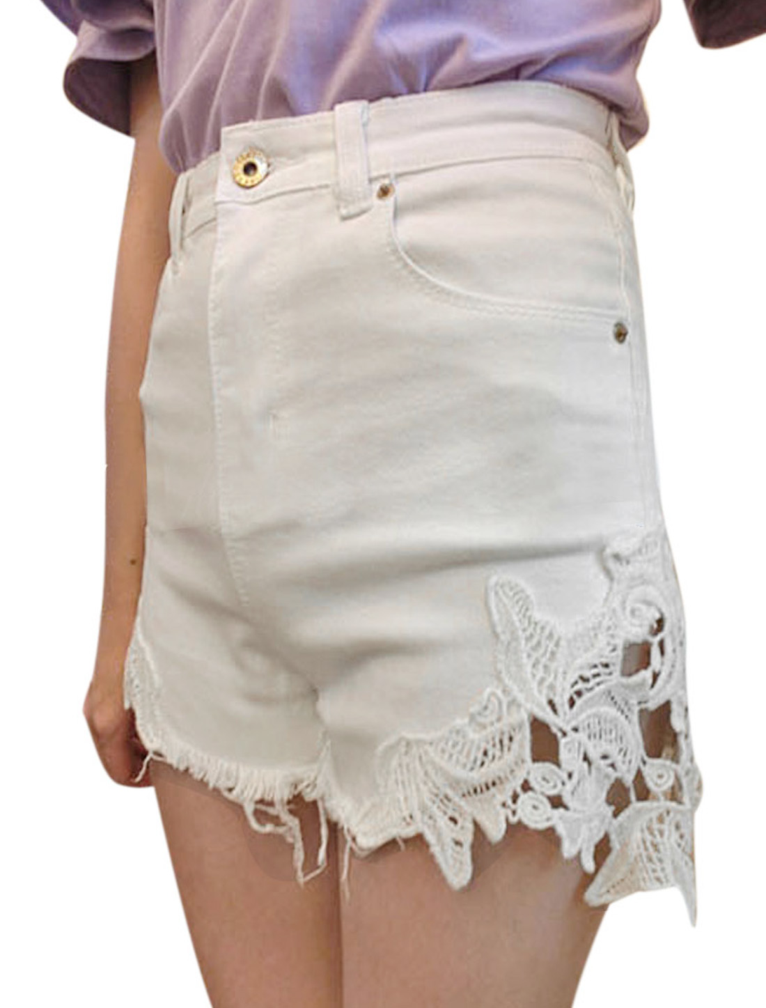 Lady Zip Fly Closure Hip Patch Pockets Crochet Splice Demin Shorts White S