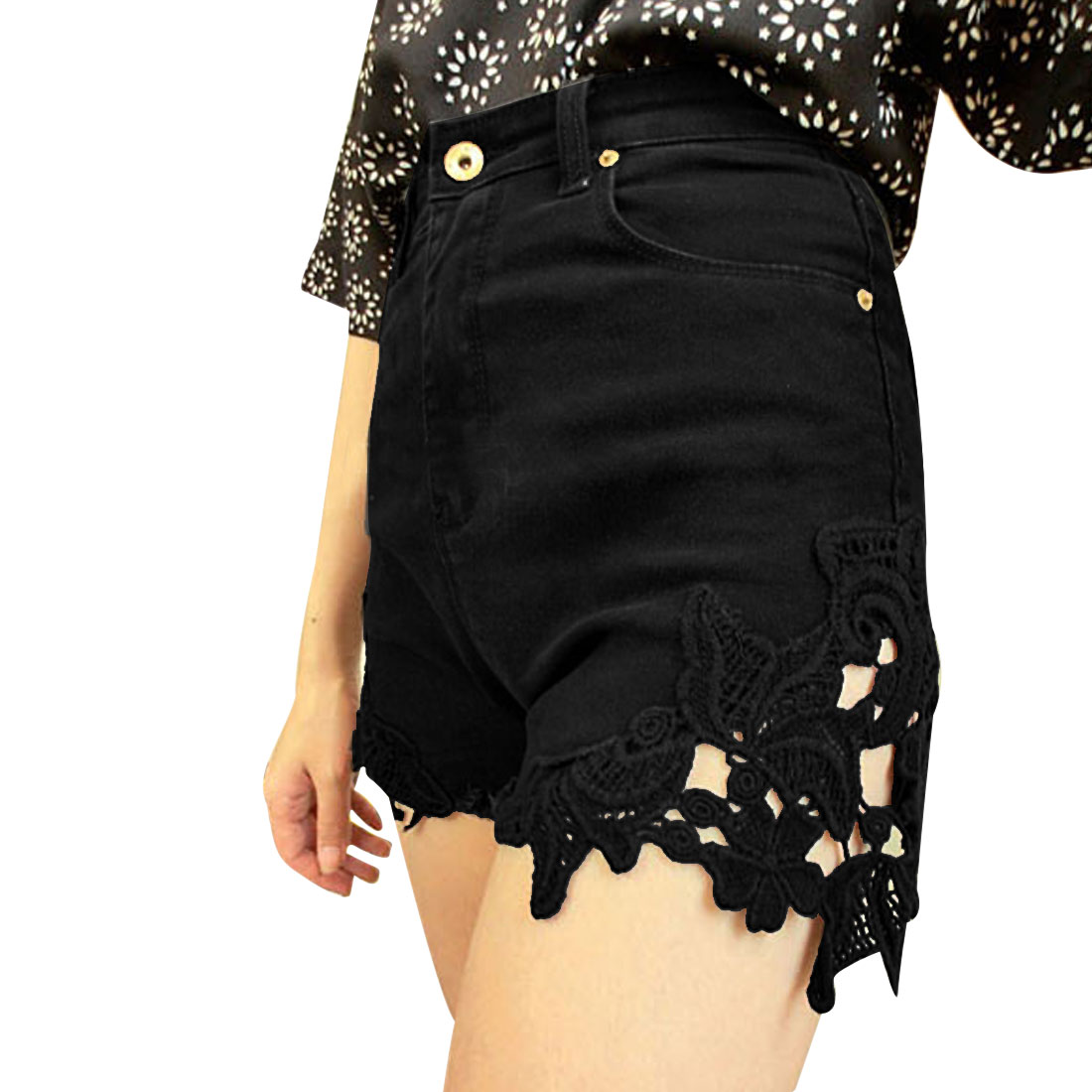Lady Waistband Loop Slant Side Pockets Destroyed Detail Black Demin Shorts S
