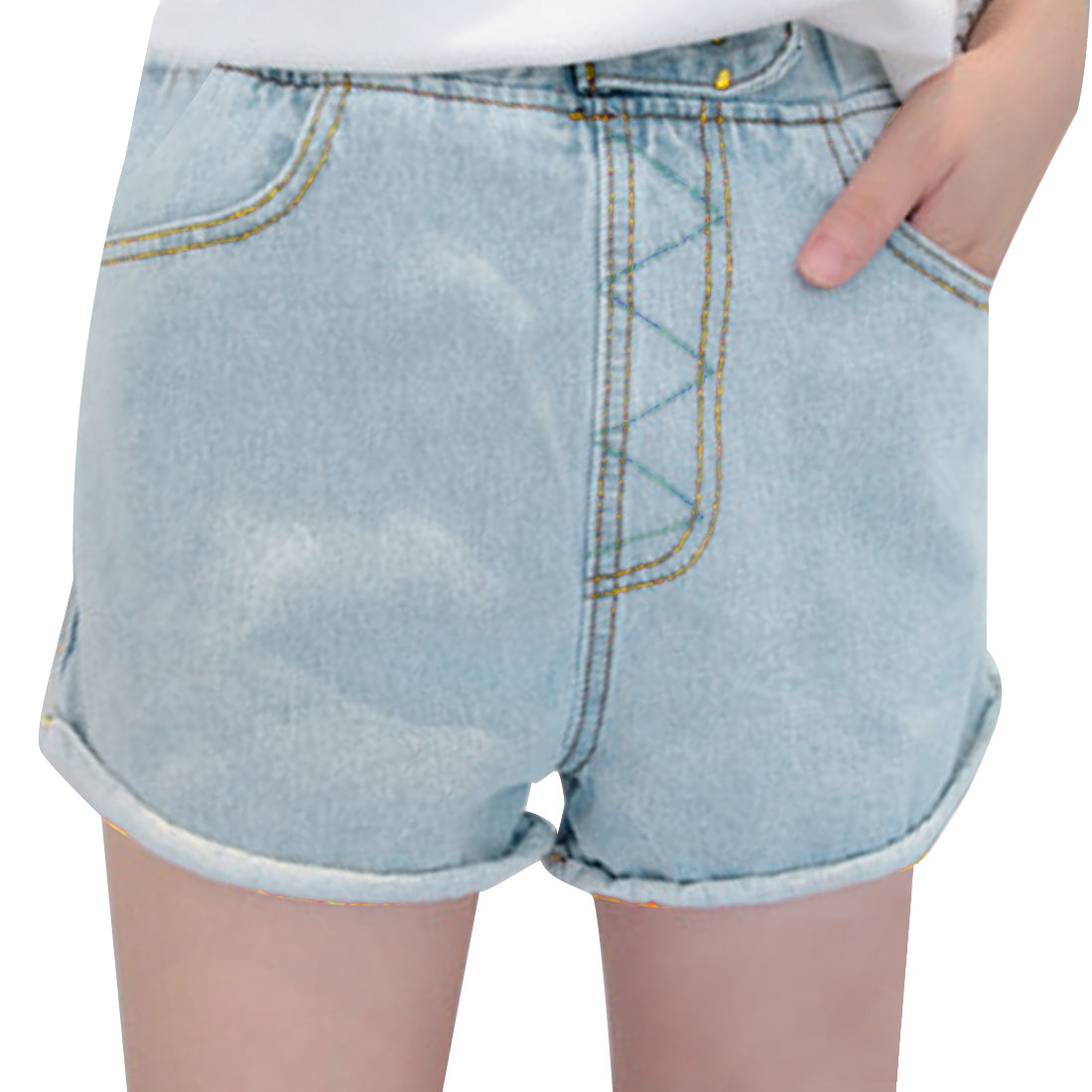 Women Roll-up Design Elastic Waist Light Blue Demin Shorts S