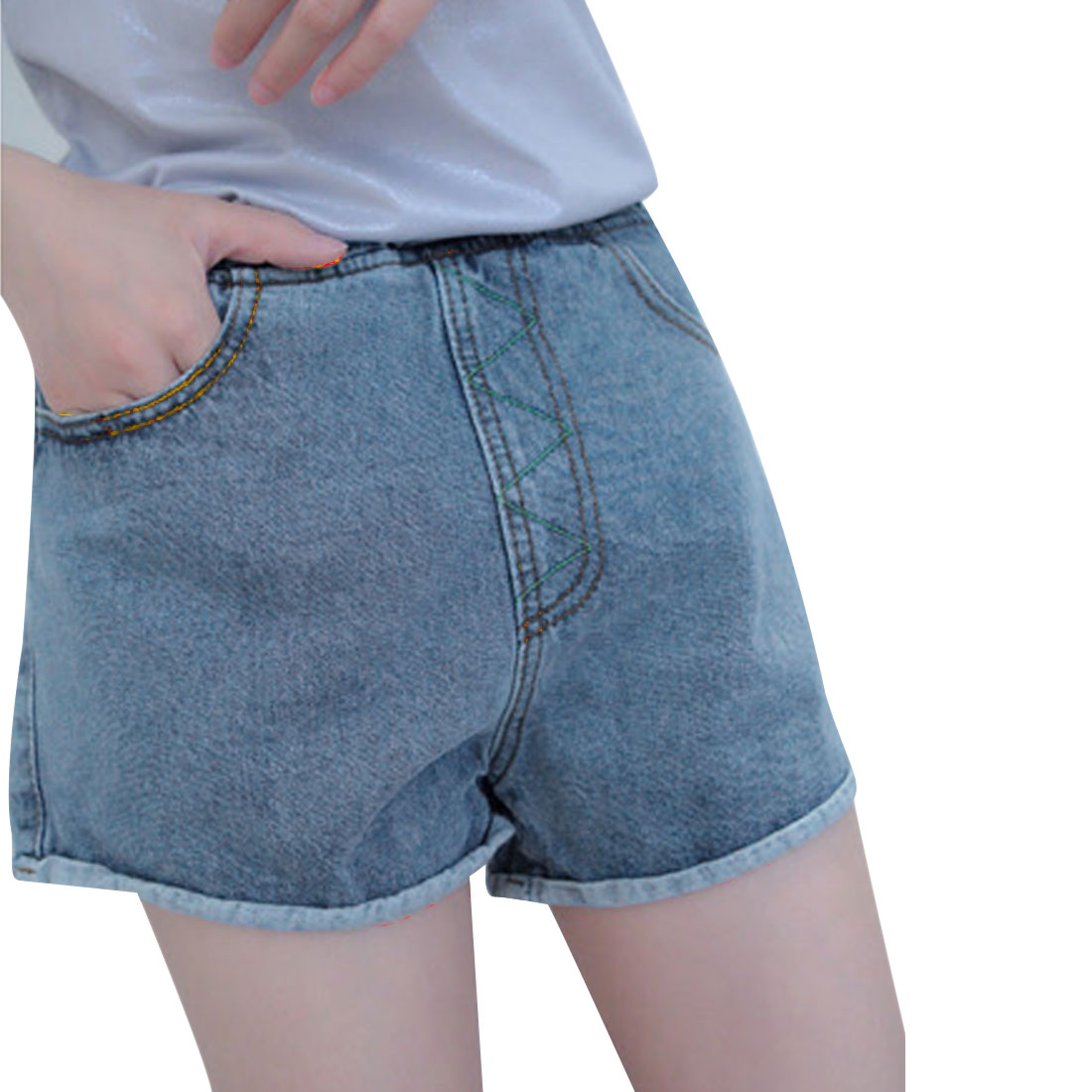 Lady Stylish Slim Fit Stretchy Waist Blue Demin Shorts M