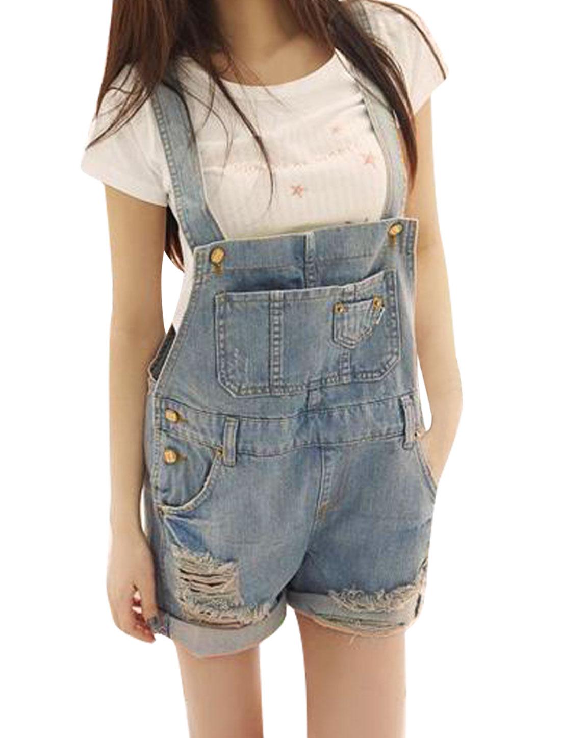 Women Chest Pocket Slant Pockets Hip Pocket Belt Loops Suspender Light Blue M