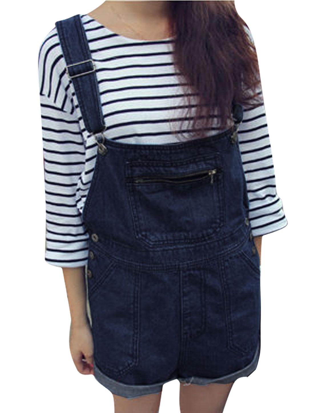 Women Adjustable Straps Zip Up Pocket Front Overalls Navy Blue S