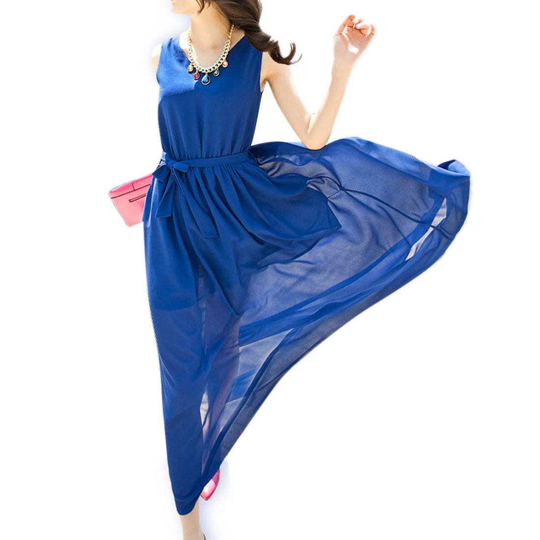 Lady Blue V Neck Sleeveless Elastic Waist Slant Pocket Dress S
