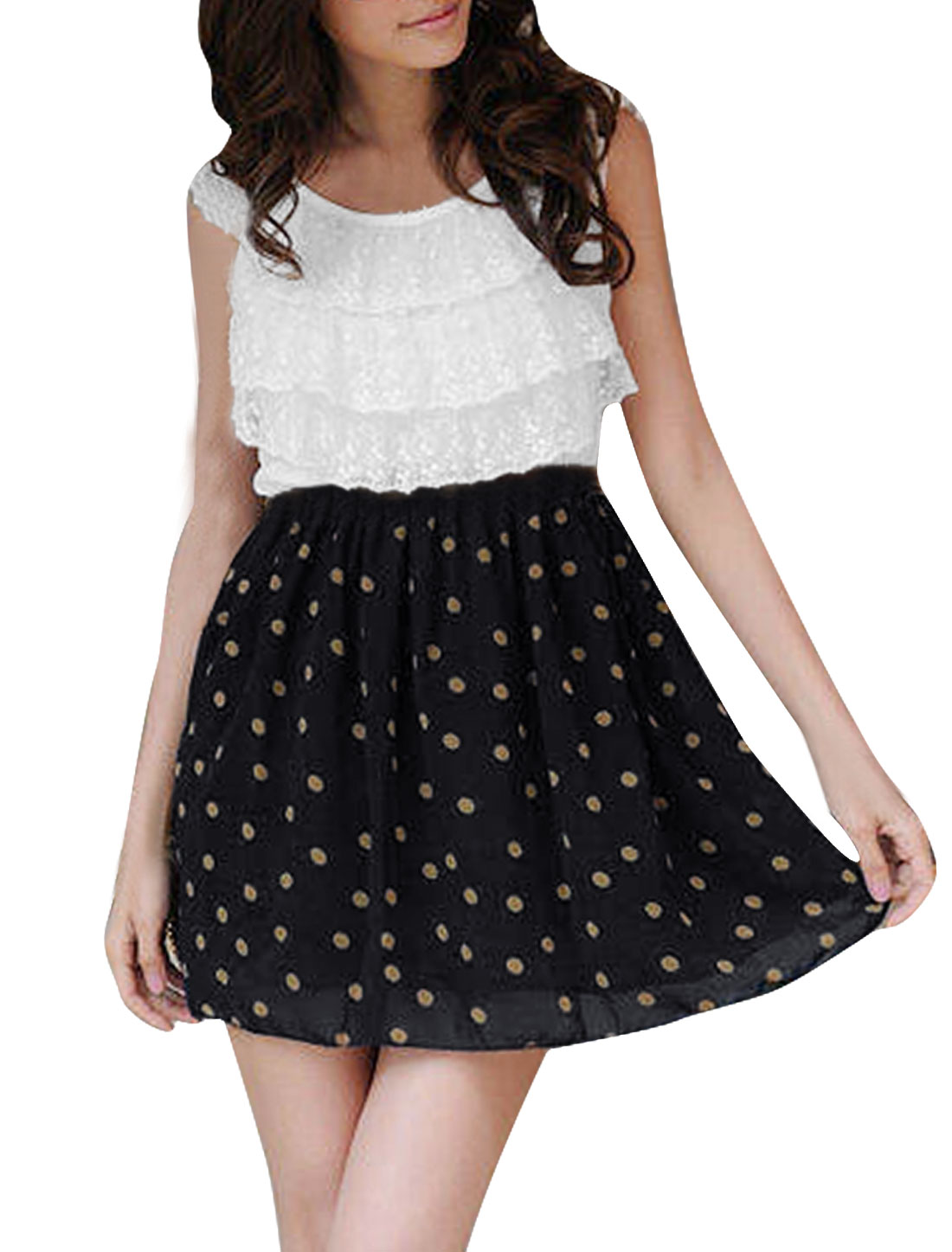 Women Dots Pattern Round Neck Sleeveless Lace Dress White Navy Blue XS