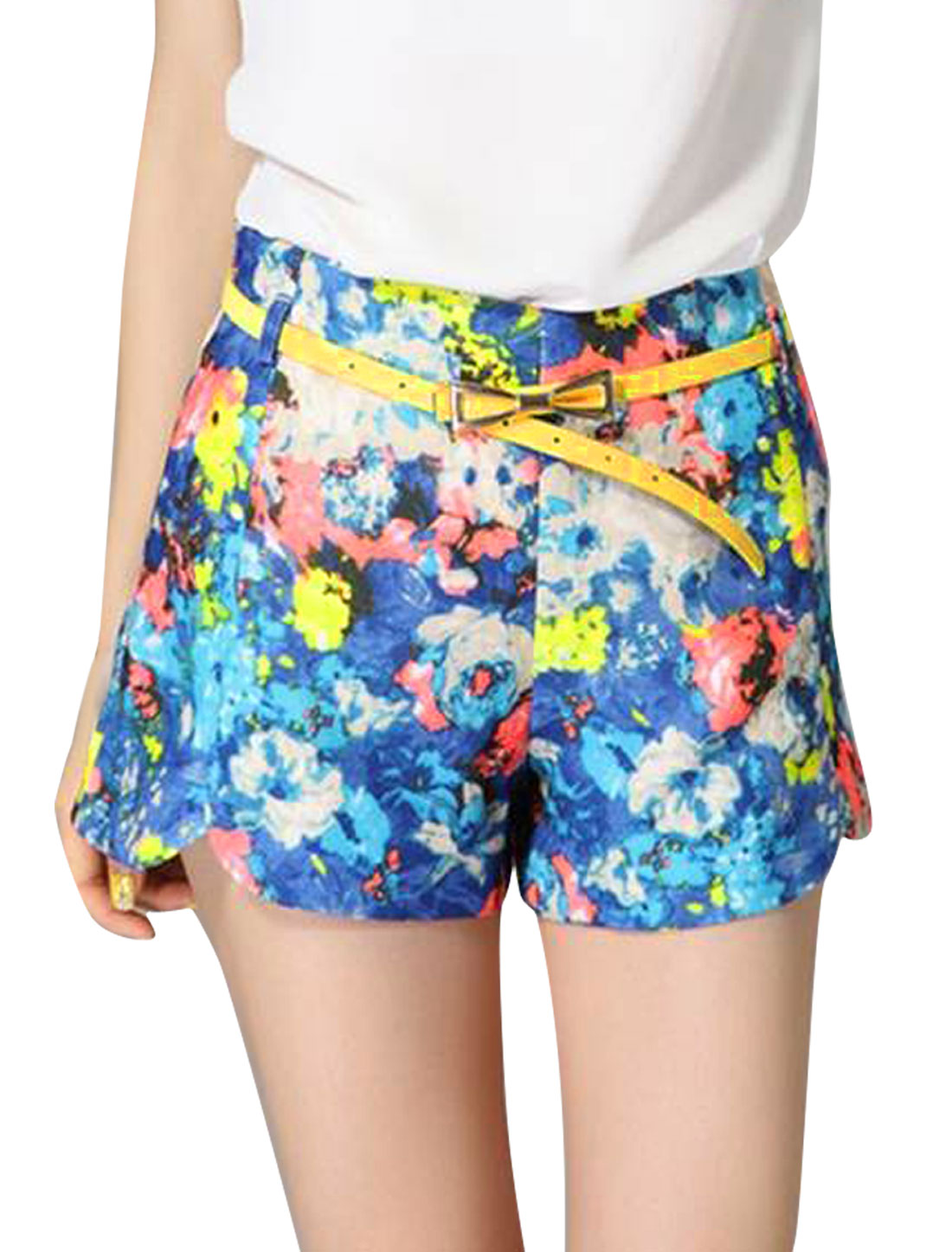 Women Waistband Loop Floral Prints Casual Shorts Multicolor S
