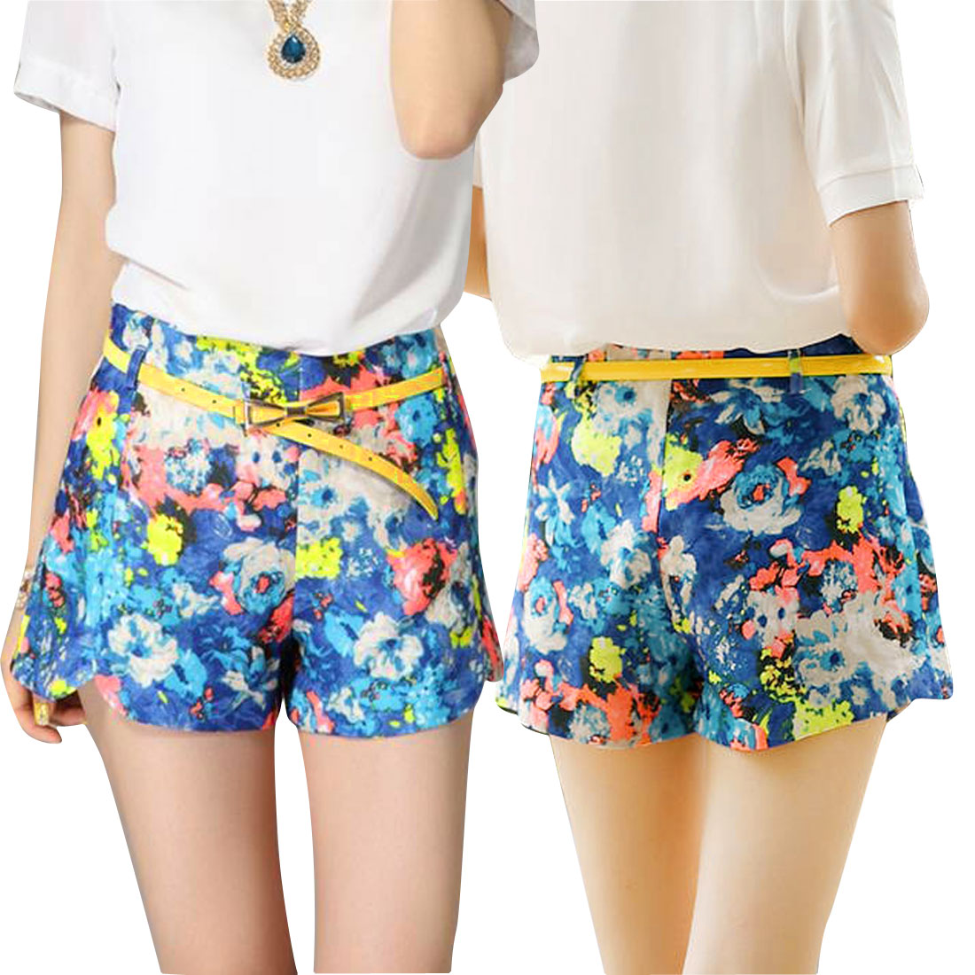 NEWS Women Zip Closure Right Belted Casual Shorts Multicolor XS