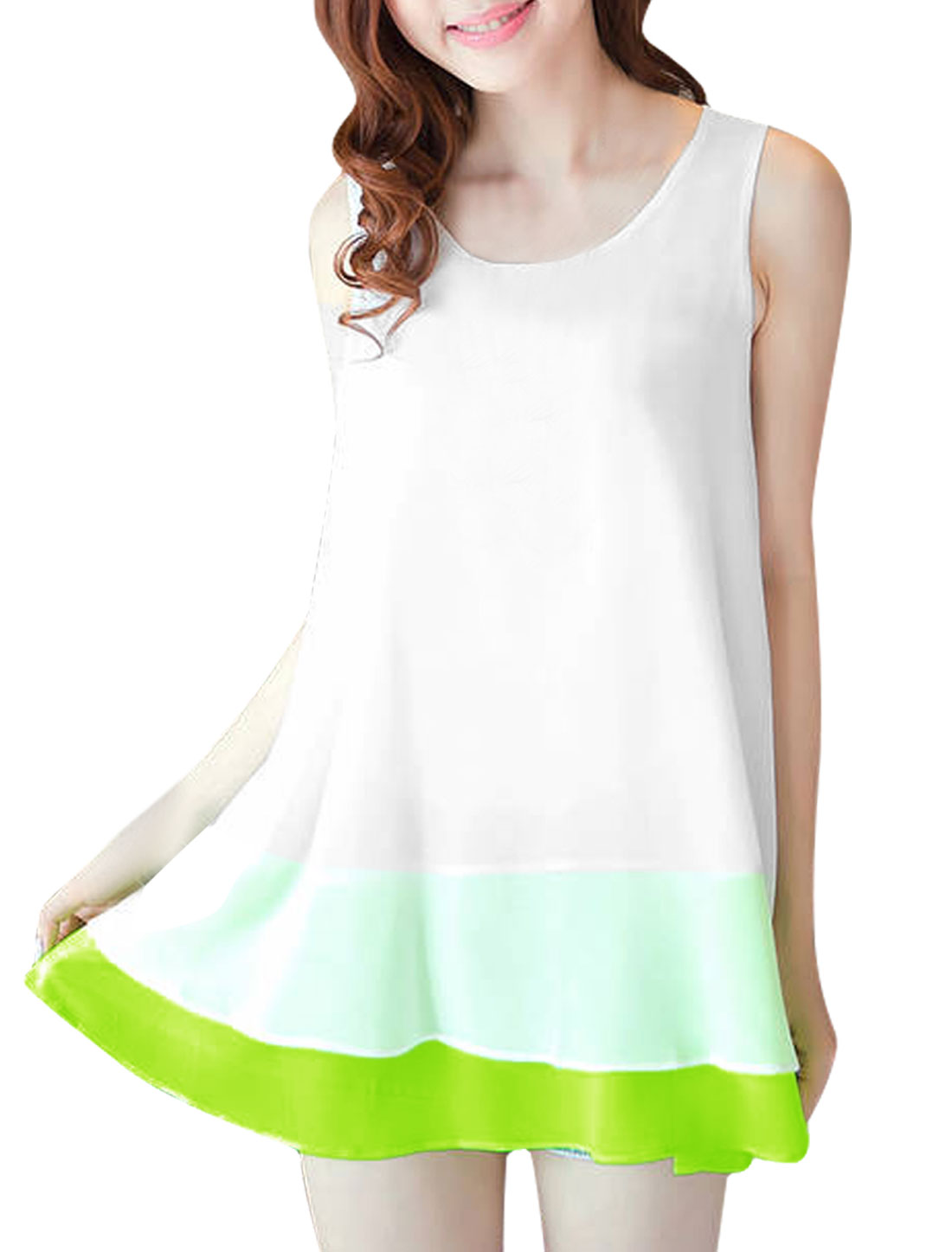 Women Round Neck Semi Sheer Sleeveless Design Chiffon Tunic Shirt White S
