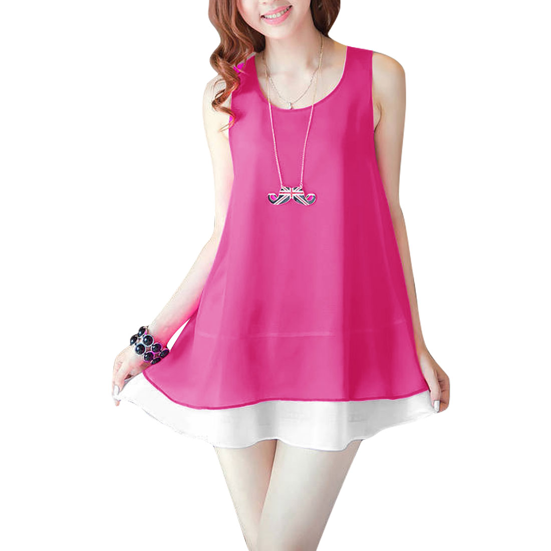 Fuchsia S Sleeveless Style Detachable Belt See Through Women Tunic Top Shirt