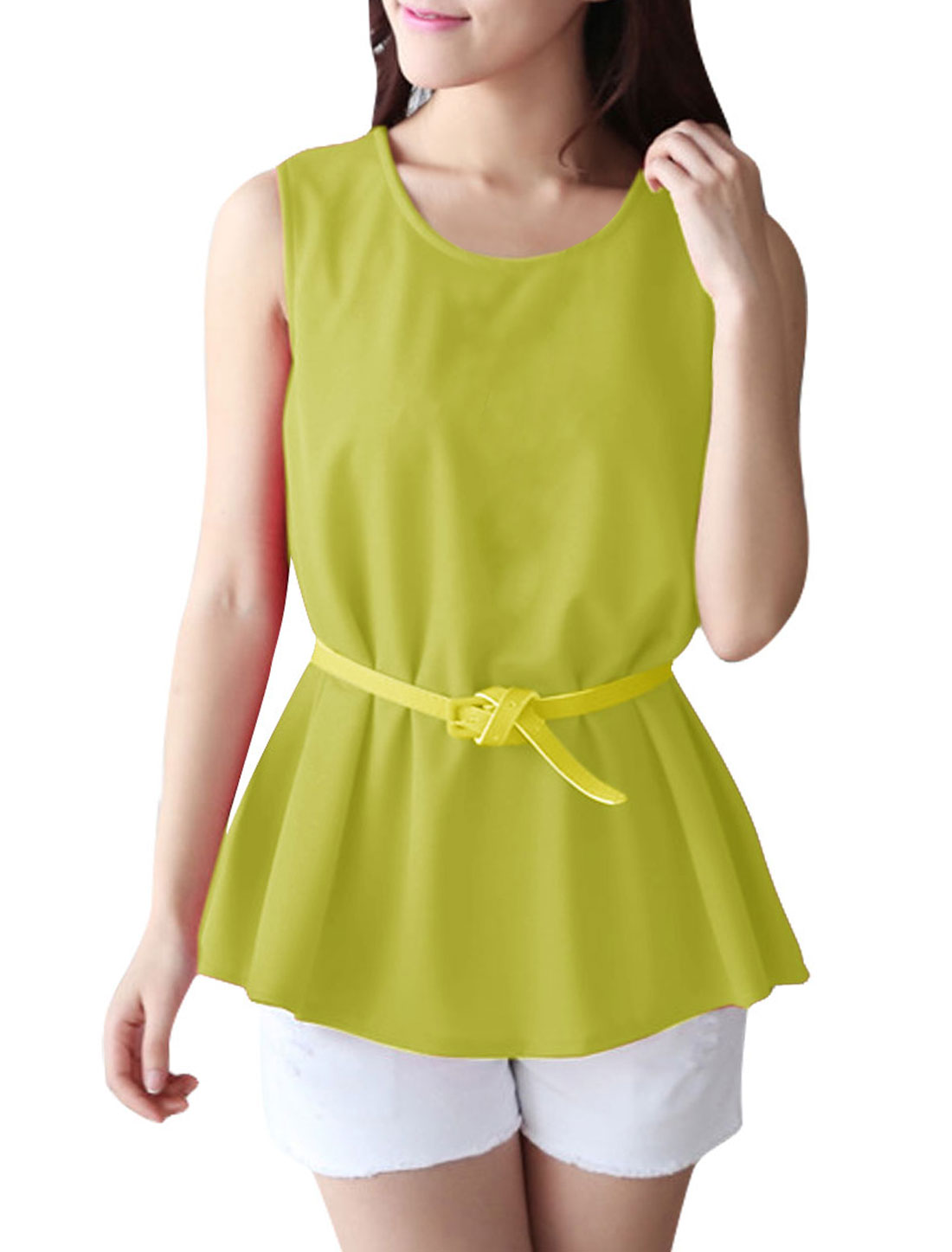 Flare Hem Design Solid Color Yellow Tank Top w Faux Leather Belt for Lady S