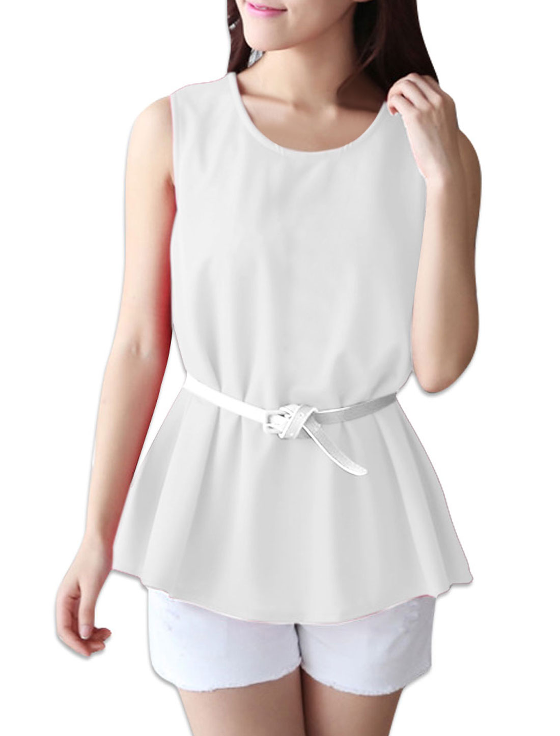 Woman Round Neck Sleeveless Flare Hem White Tank Top w Faux Leather Belt S
