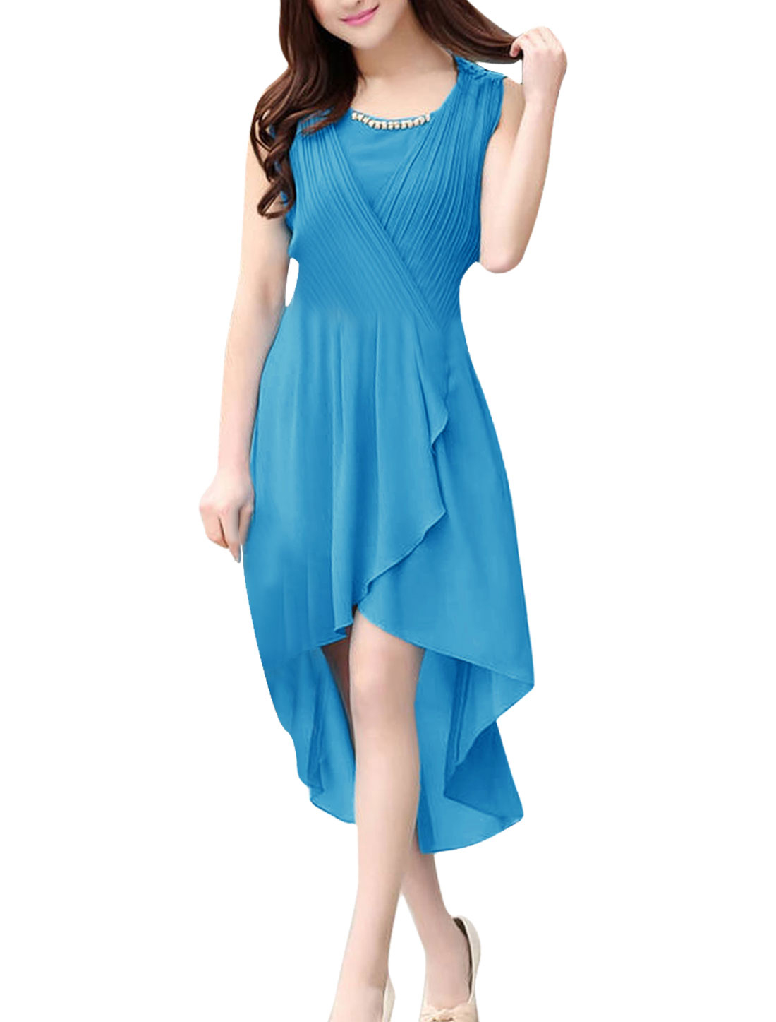 Woman Chic Fake Diamond Chain Decor Low-High Hem Design Sea Blue Dress XS