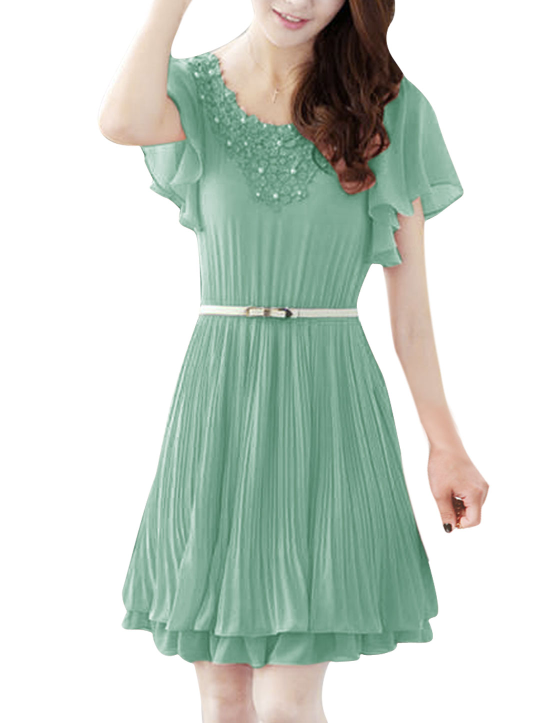 Ladies Scoop Neck Short Ruffled Sleeve Crochet Splice Mint Above Knee Dress XS