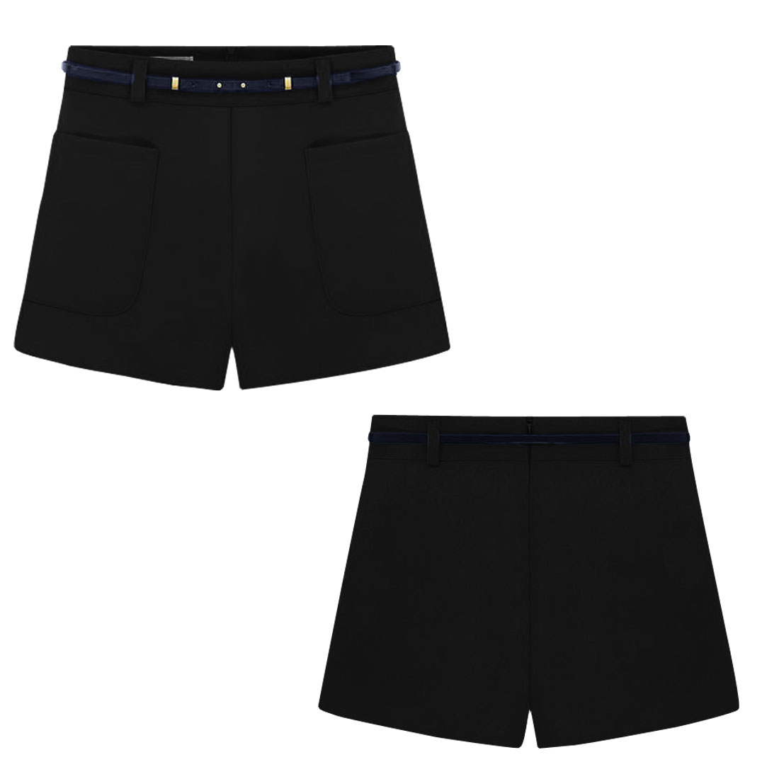 Woman Newly Two Front Patch Pockets Design Pure Black Casual Shorts M