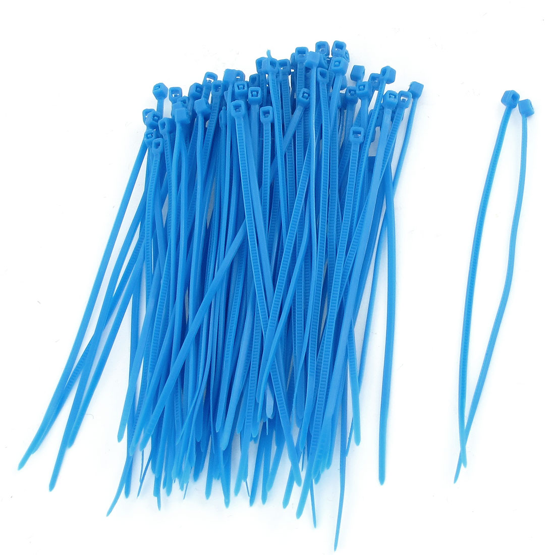 Blue Plastic 100 x 3mm Locking Electric Wire Cable Zip Ties 100 Pcs