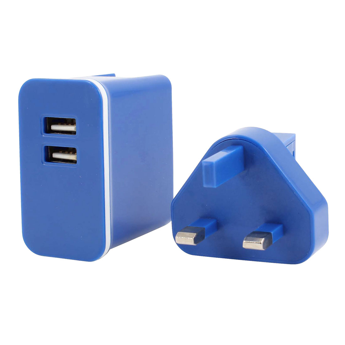 UK Plug Two USB 2.0 Ports AC100-240V Power Adapter Wall Travel Charger Blue