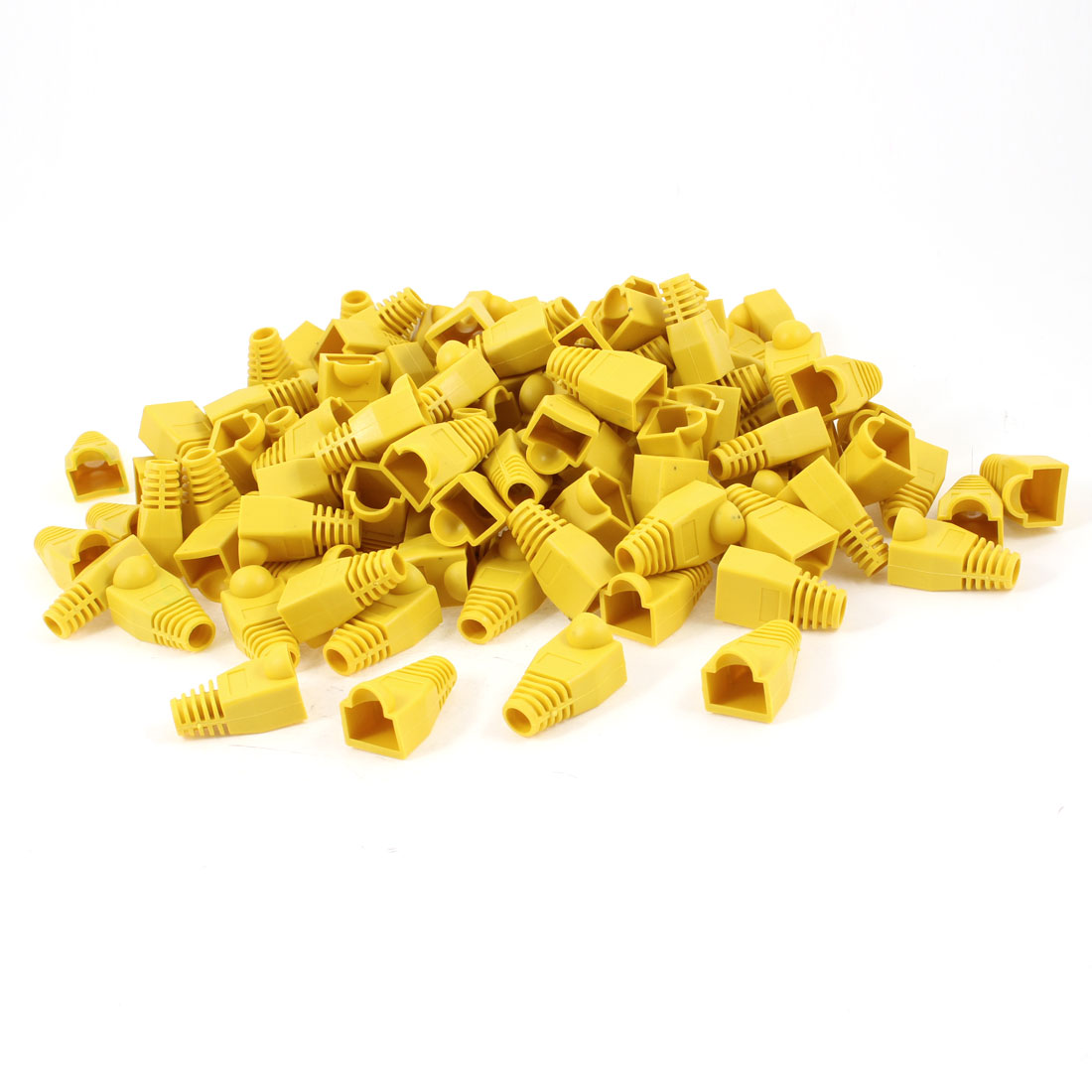 200 Pcs Yellow Soft Plastic Hood Cover Boots for RJ45 Plug Connector