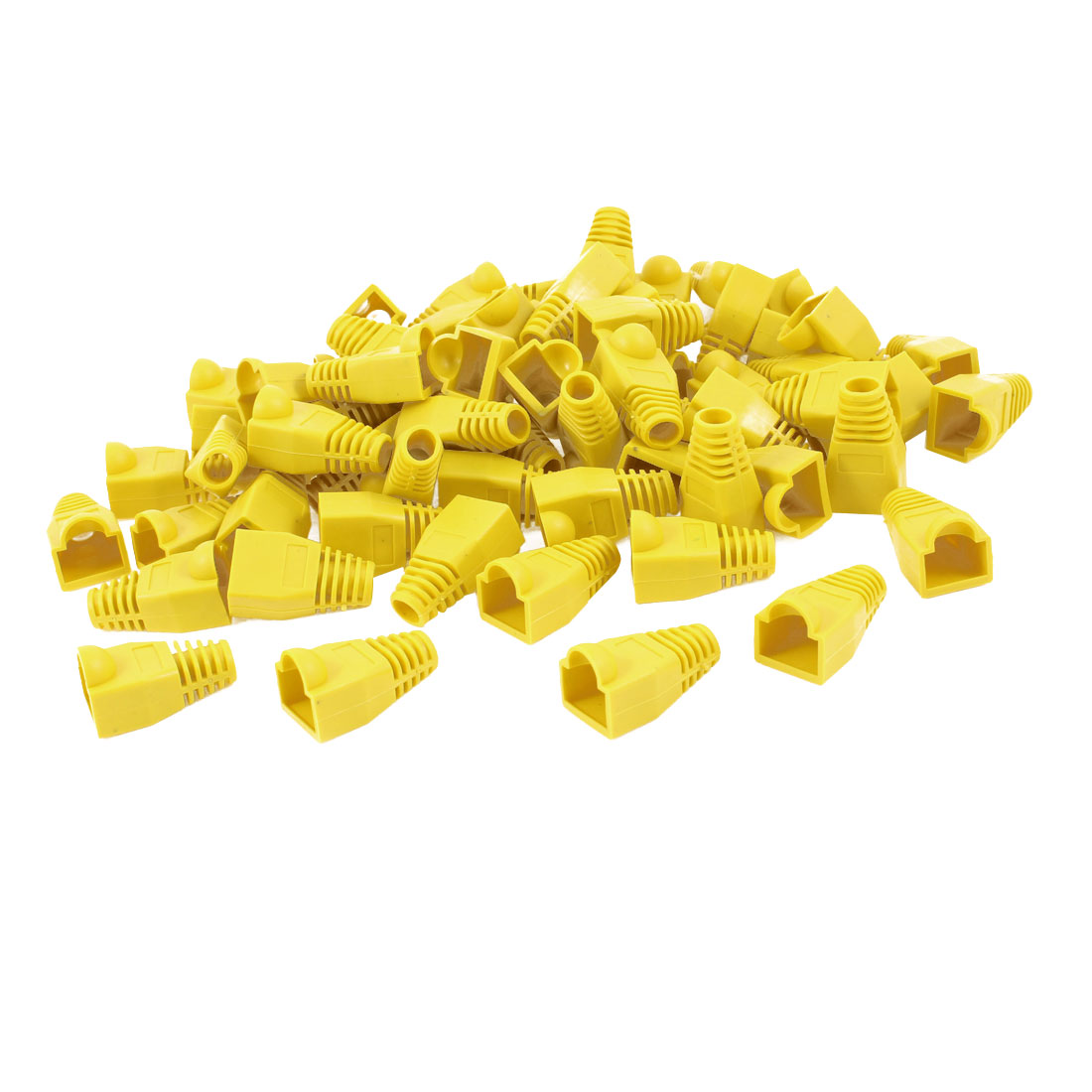 66 Pcs Yellow Soft Plastic Hood Cover Boots for RJ45 Plug Connector