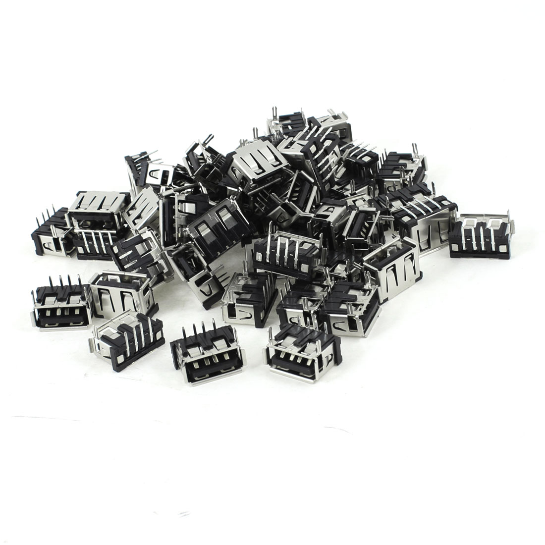 50 Pcs Single Port USB Type A 90 Degree 4-Pin DIP Female Jack Socket