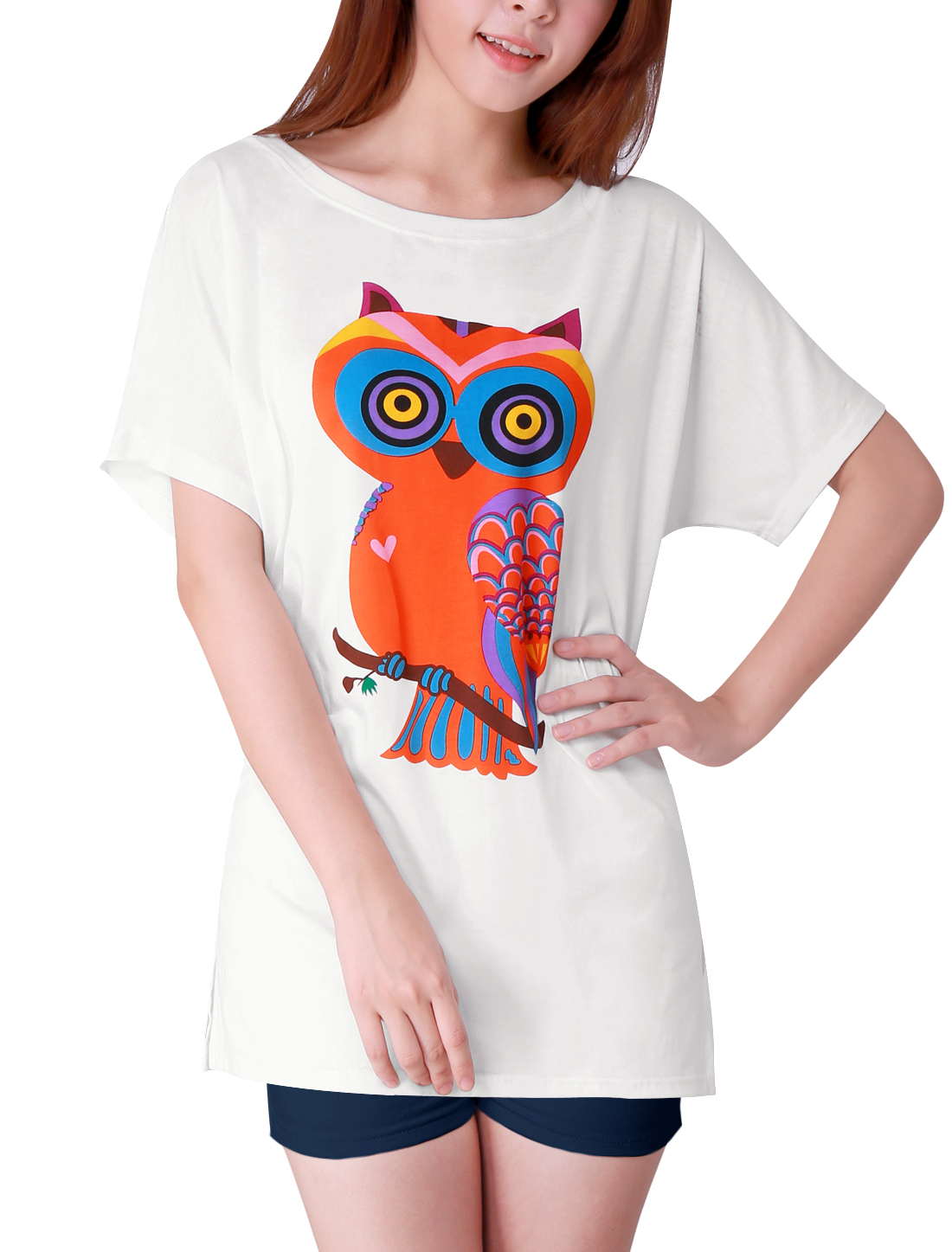 Women New Fashion Cartoon Owl Pattern White Summer Tunic Shirt S