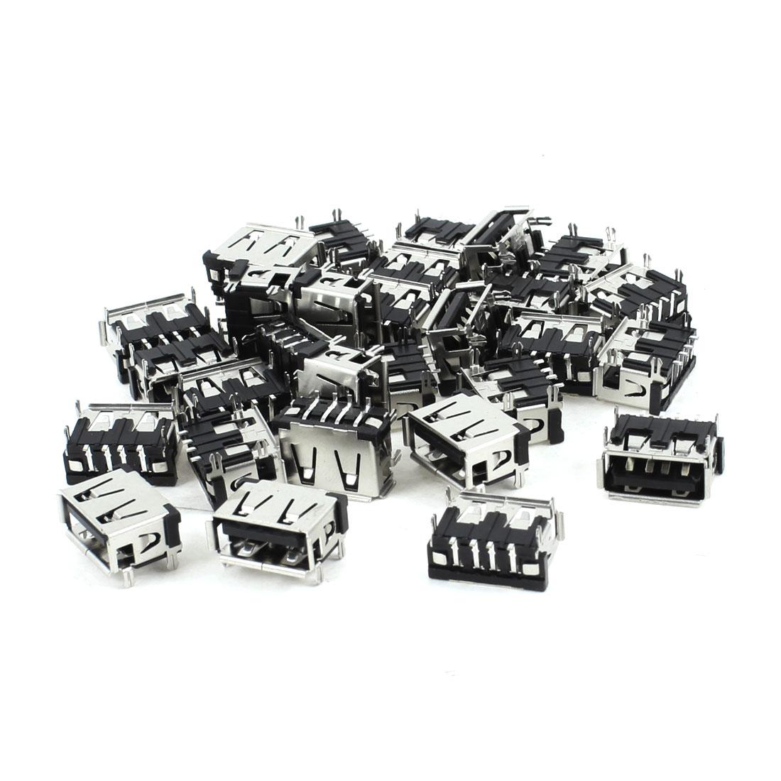 30 Pcs USB Type A 90 Degree 4-Pin SMD Female Jack Socket Port