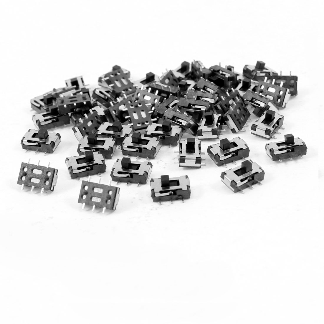 50 Pcs 7x4x2mm On/Off/On DPDT 2P2T 6 Pin Vertical Mini SMD SMT Slide Switch