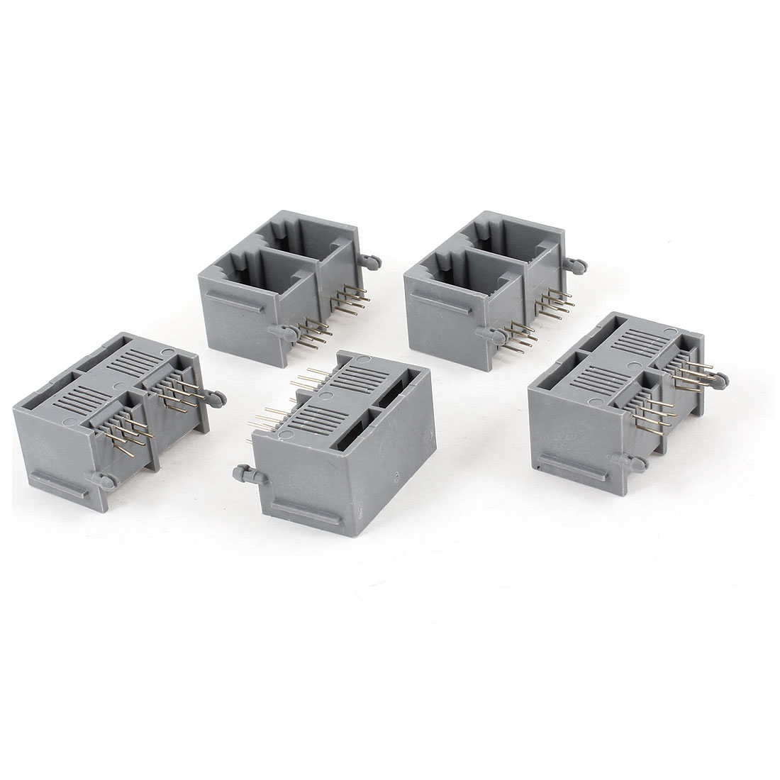 5 Pcs Gray Unshielded Two-Port RJ12 6P6C Network Modular PCB Jacks Connector