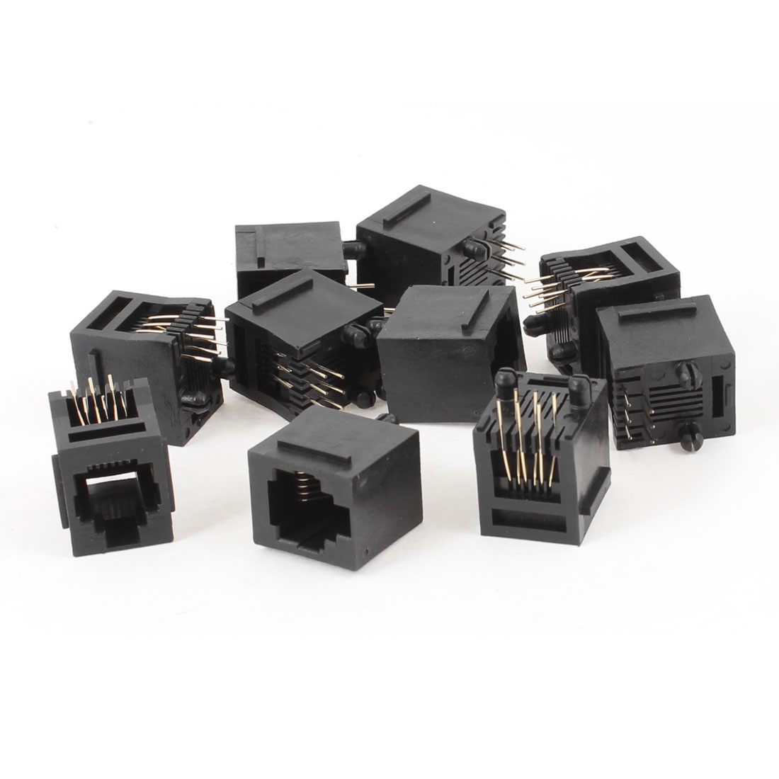 10 Pcs Black Plastic 180 Degree RJ12 6P6C Network Modular PCB Connector Jacks