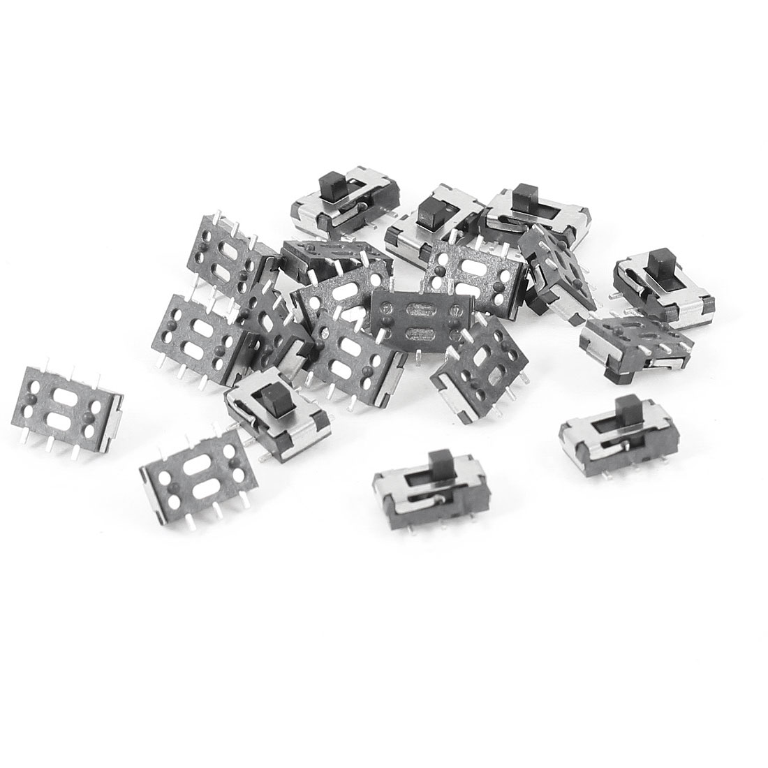 20 Pcs 7x4x2mm On/Off/On DPDT 2P2T 6 Pin Vertical Mini SMD SMT Slide Switch