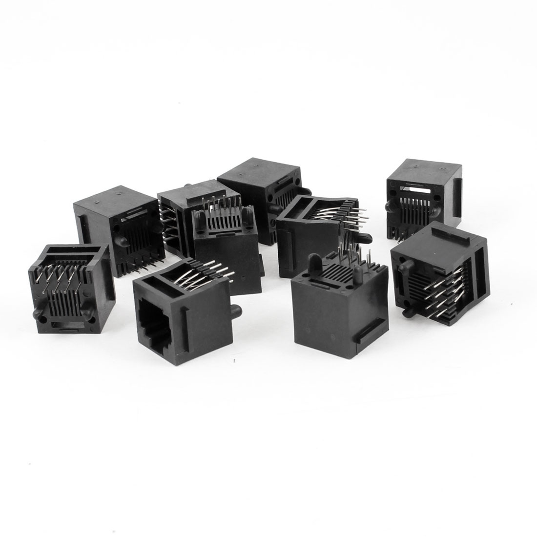 10 Pcs Unshielded RJ45 8P8C Network Modular PCB Connector Jacks Black