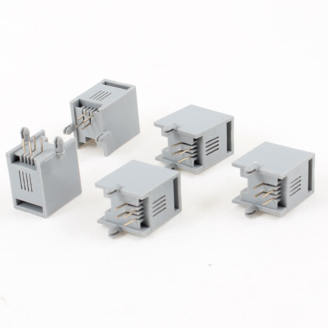 20 Pcs Unshielded RJ9 4P4C Network Modular PCB Connector Jacks Gray