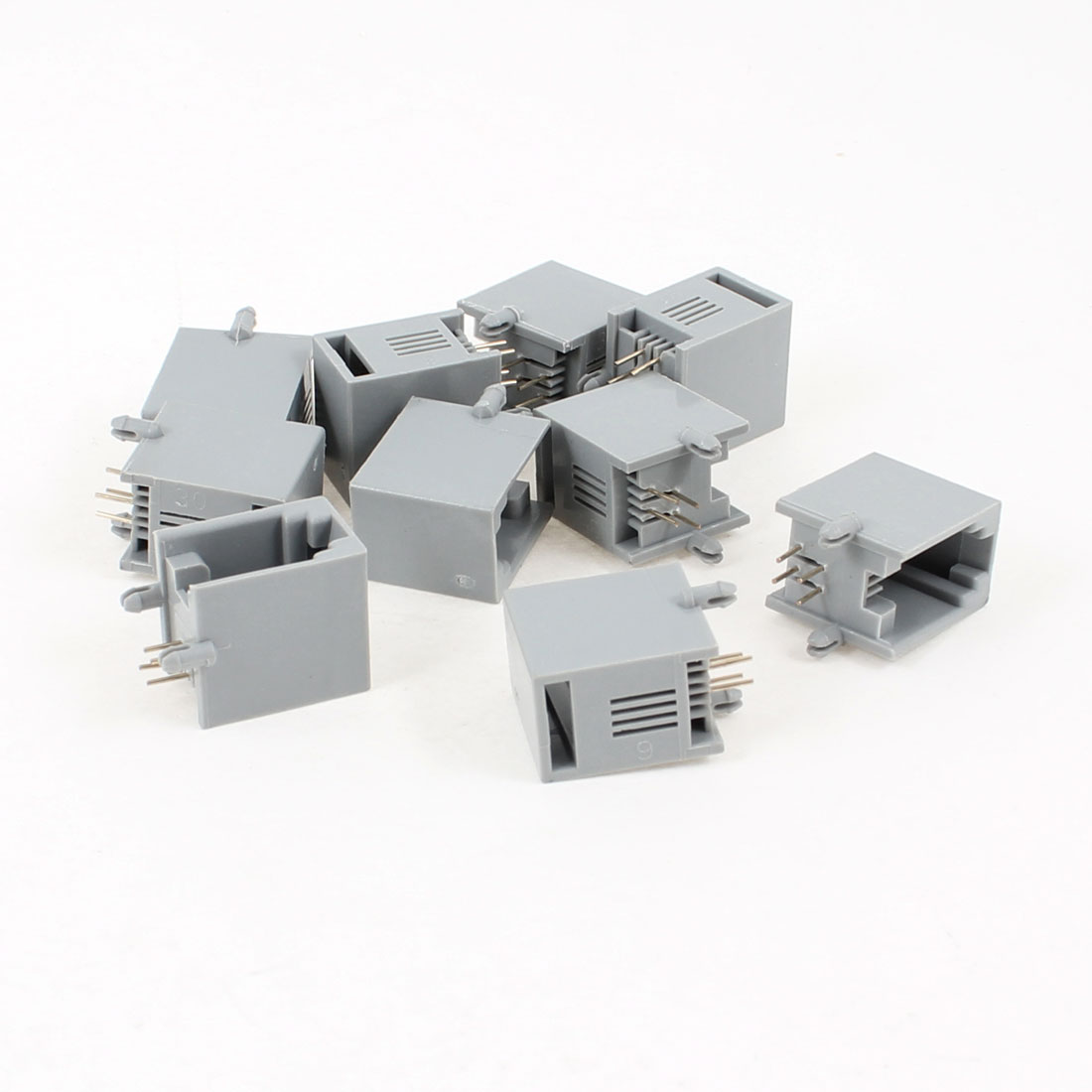 10 Pcs Unshielded RJ9 4P4C Network Modular PCB Connector Jacks Gray
