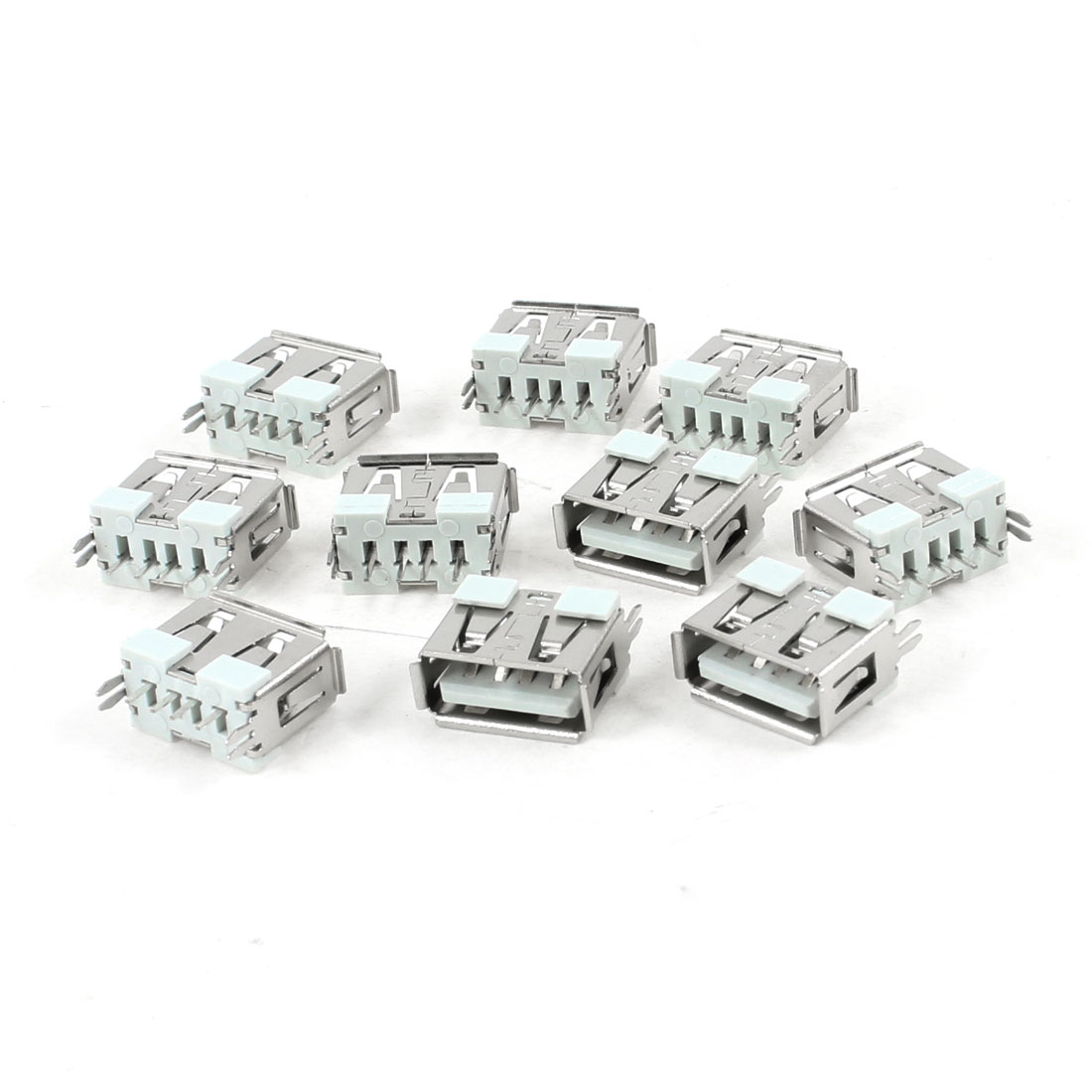 10 Pcs Single USB 2.0 A 180 Degree 4-Pin DIP Female Jack Connector