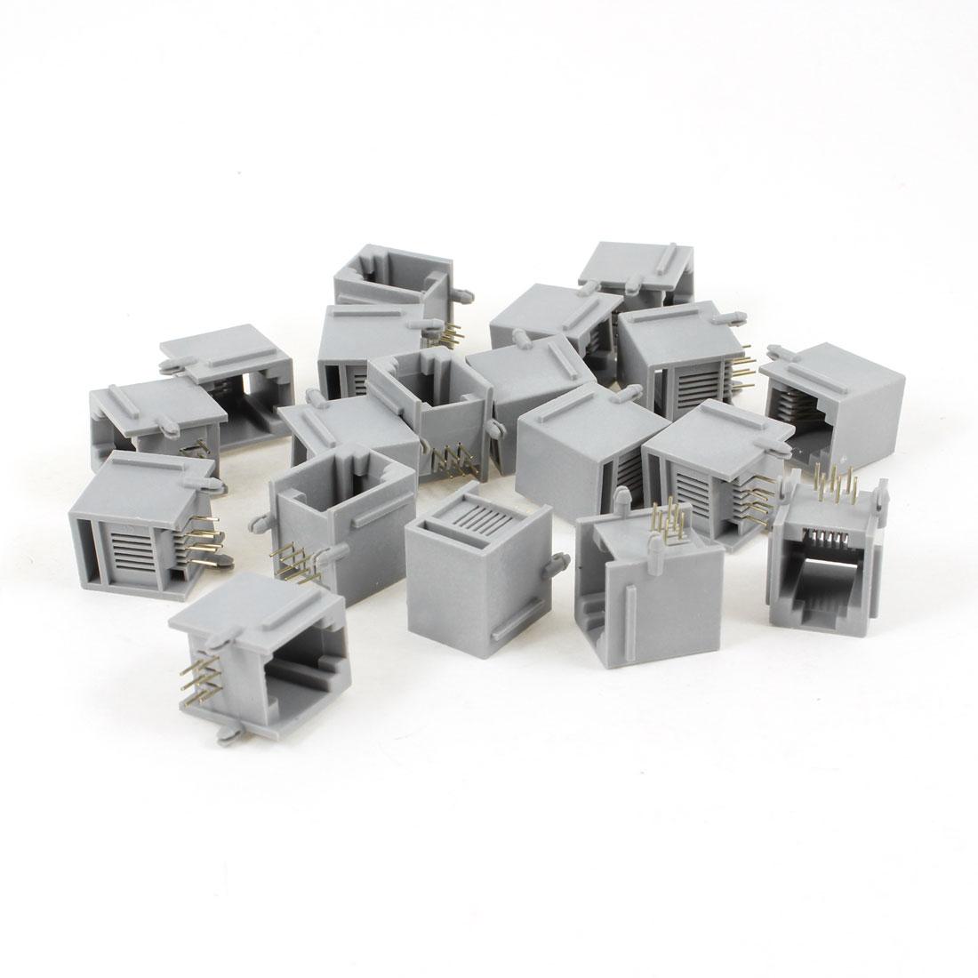 19 Pcs Gray Plastic RJ12 6P6C 6 Round Pin Network Modular PCB Connector Jacks